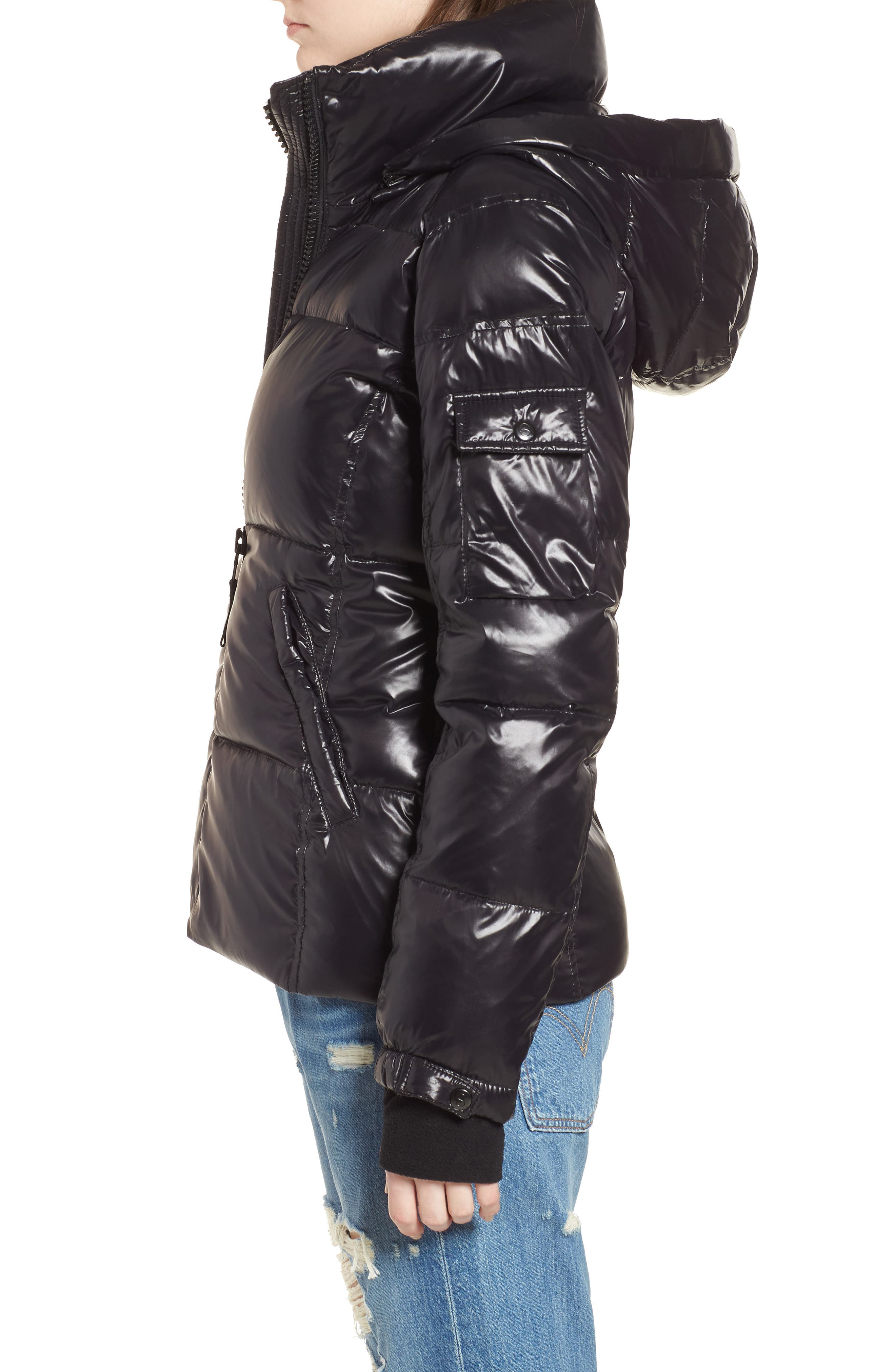 Kylie Metallic Quilted Jacket with Removable Hood,                             Alternate thumbnail 3, color,                             Jet