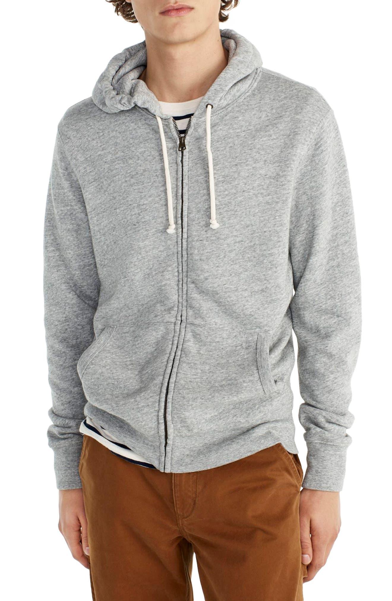 Brushed Fleece Zip Hoodie,                         Main,                         color, Heather Tin