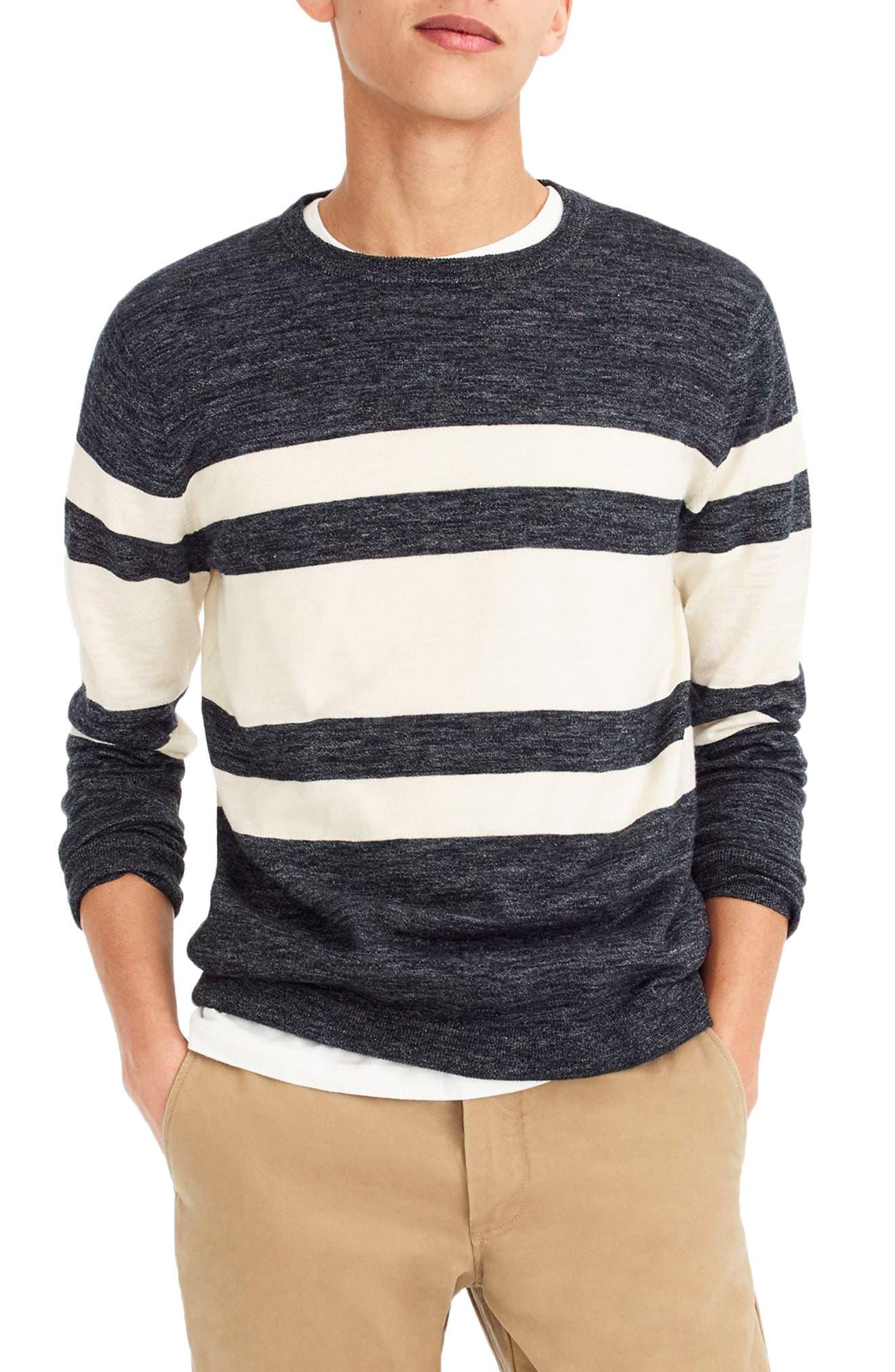 Multistripe Cotton & Linen Blend Crewneck Sweater,                         Main,                         color, Heather Inkwell
