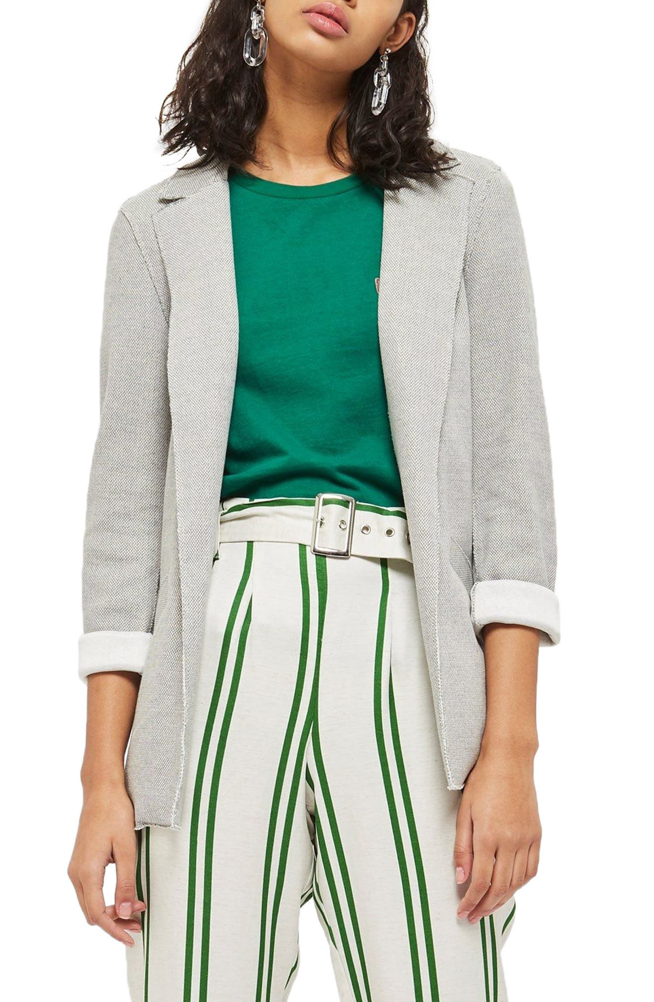Deconcrusted Jersey Blazer,                         Main,                         color, Grey