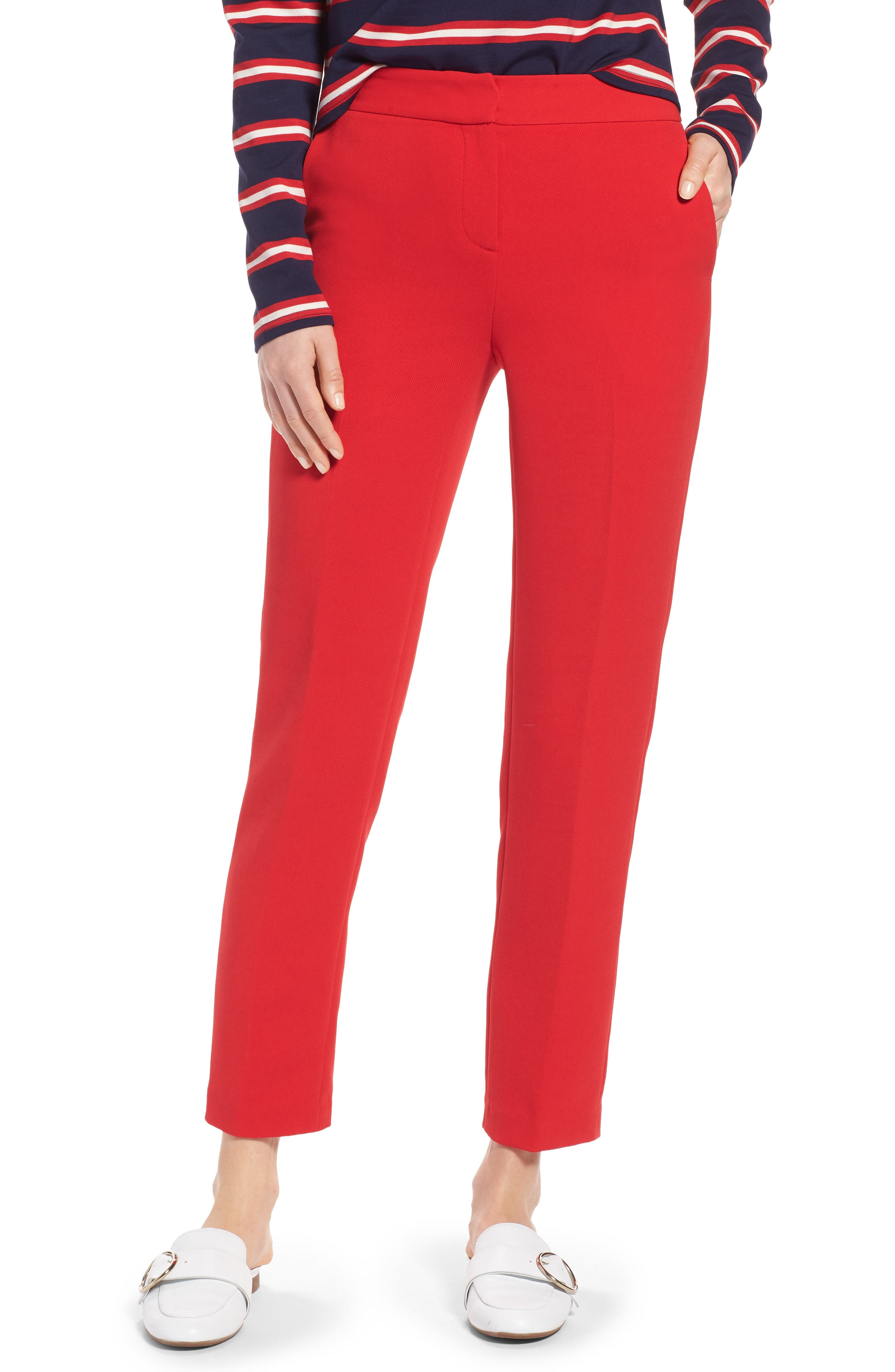 High Waist Straight Pants,                             Main thumbnail 1, color,                             Red Chinoise