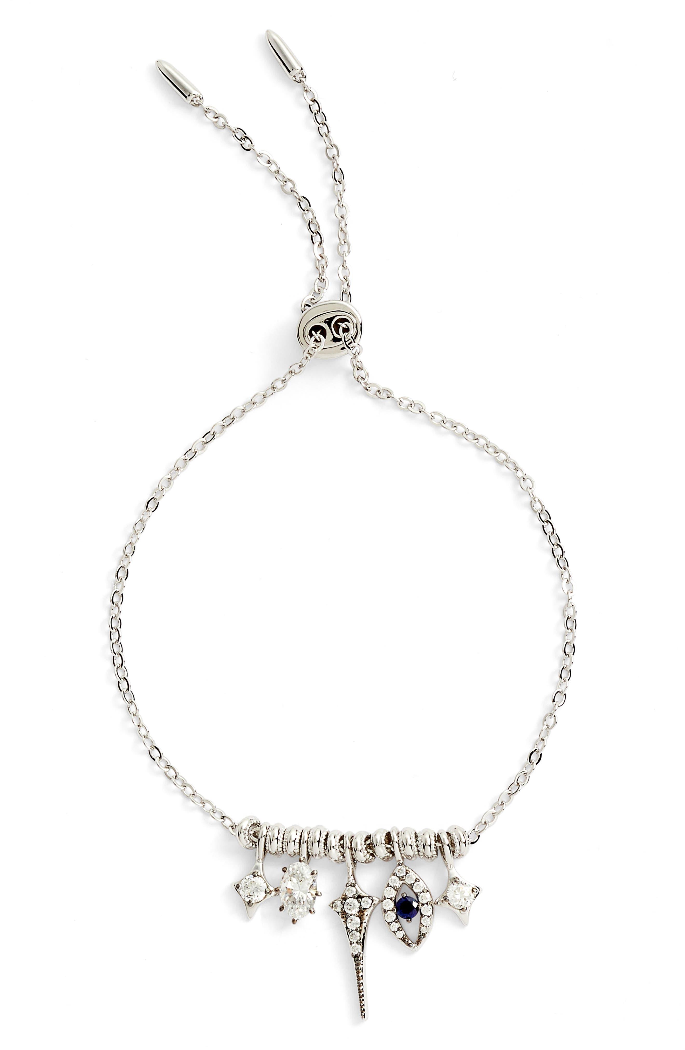 Nazar Charm Bracelet,                             Main thumbnail 1, color,                             Silver