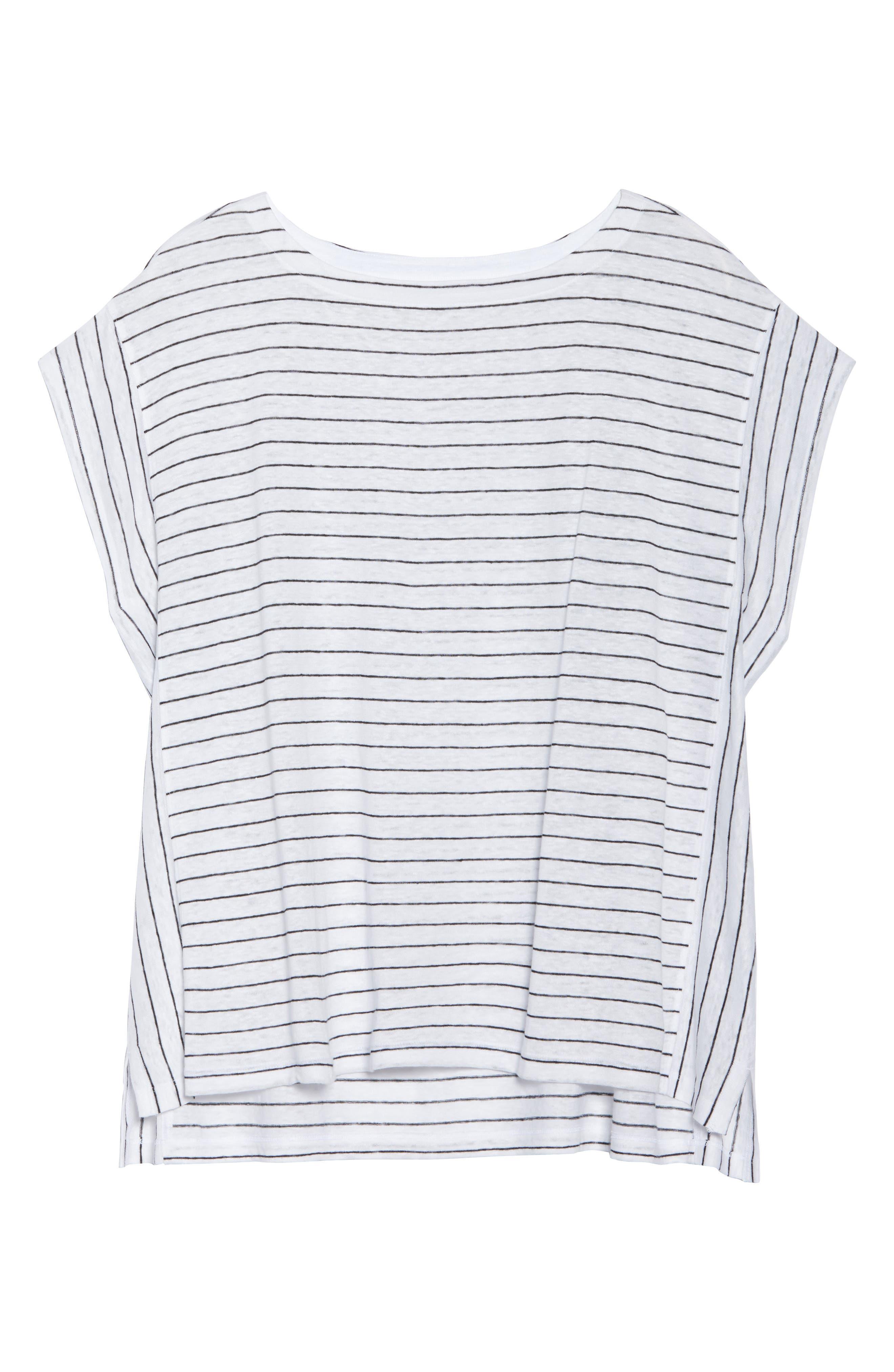 Bateau Neck Stripe Linen Top,                             Alternate thumbnail 7, color,                             White/ Black