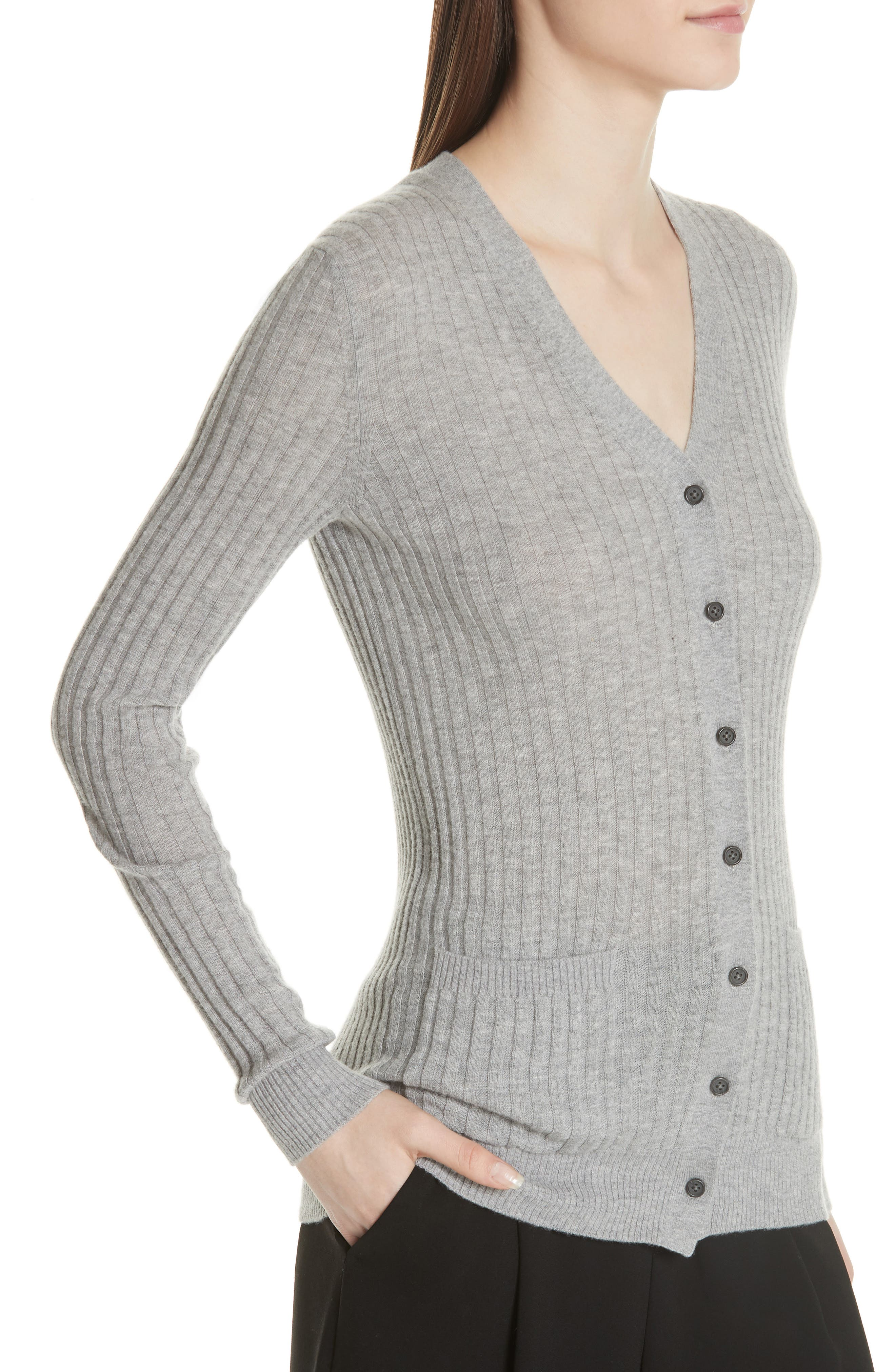 Ribbed Skinny Cashmere Cardigan,                             Alternate thumbnail 4, color,                             H Steel