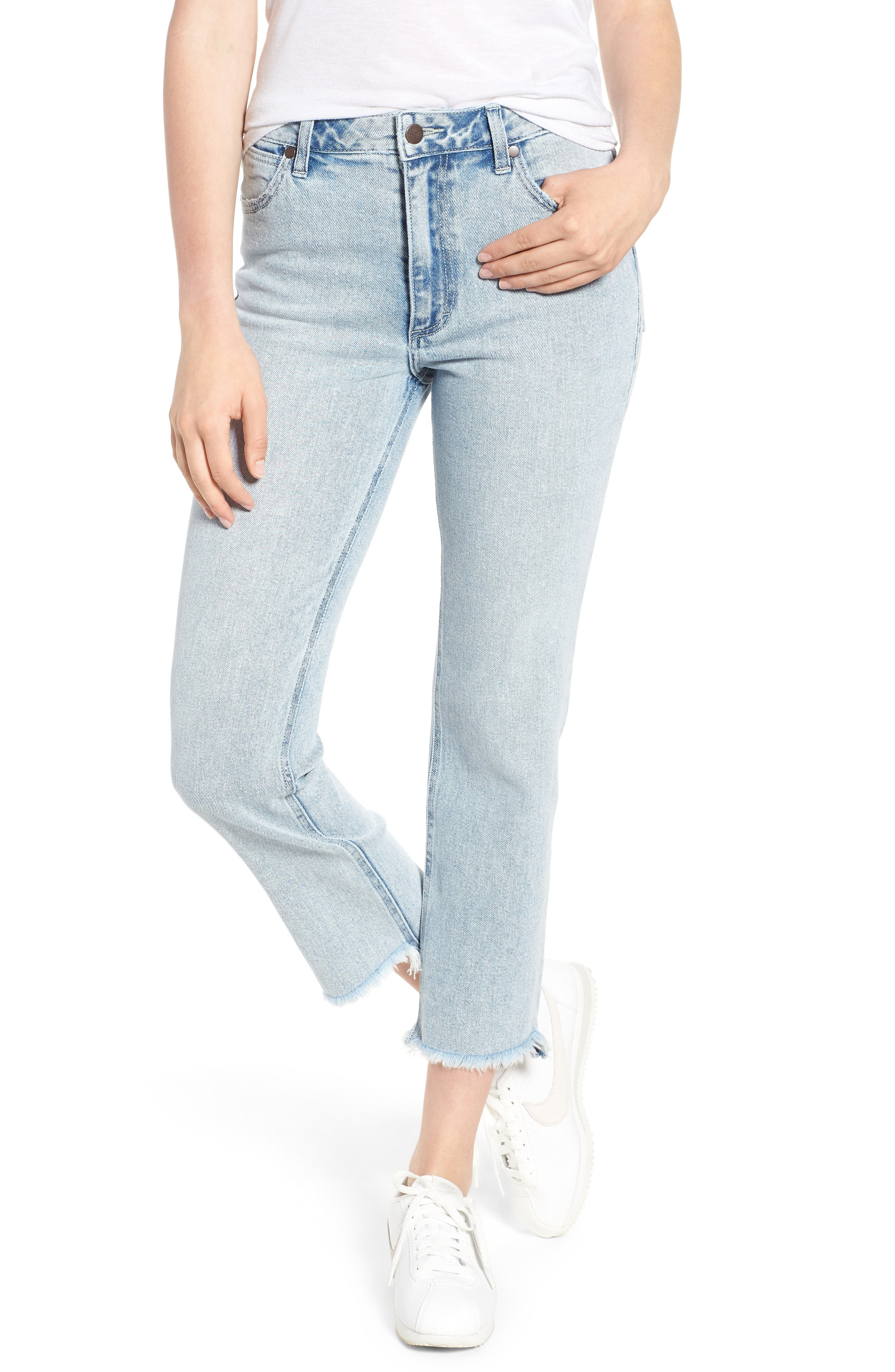 Acid Wash High Waist Crop Jeans,                             Main thumbnail 1, color,                             Light Acid