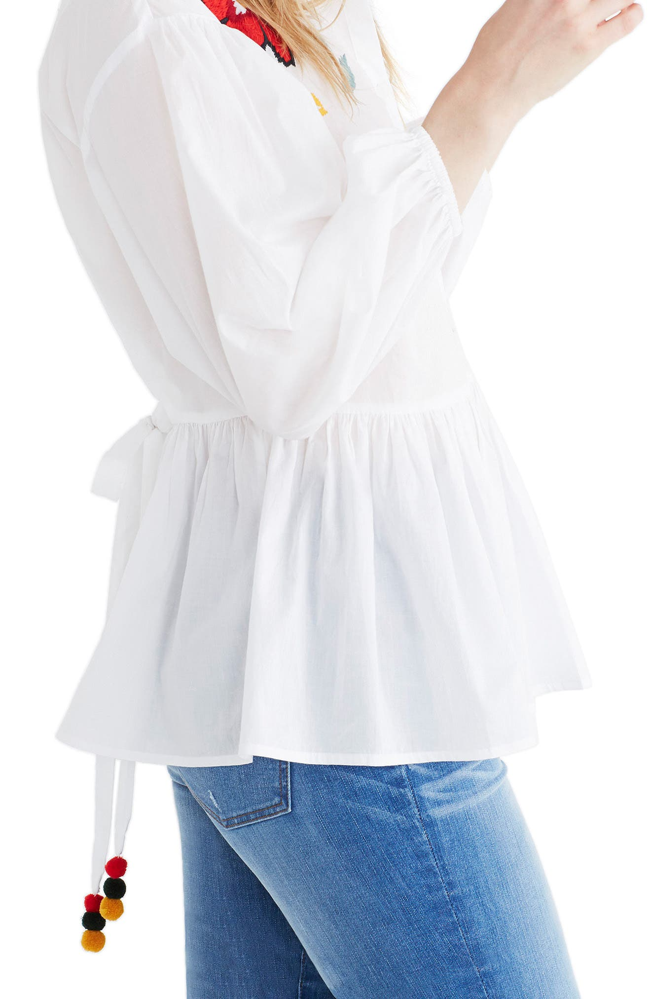 Embroidered Babydoll Shirt,                             Alternate thumbnail 2, color,                             Eyelet White