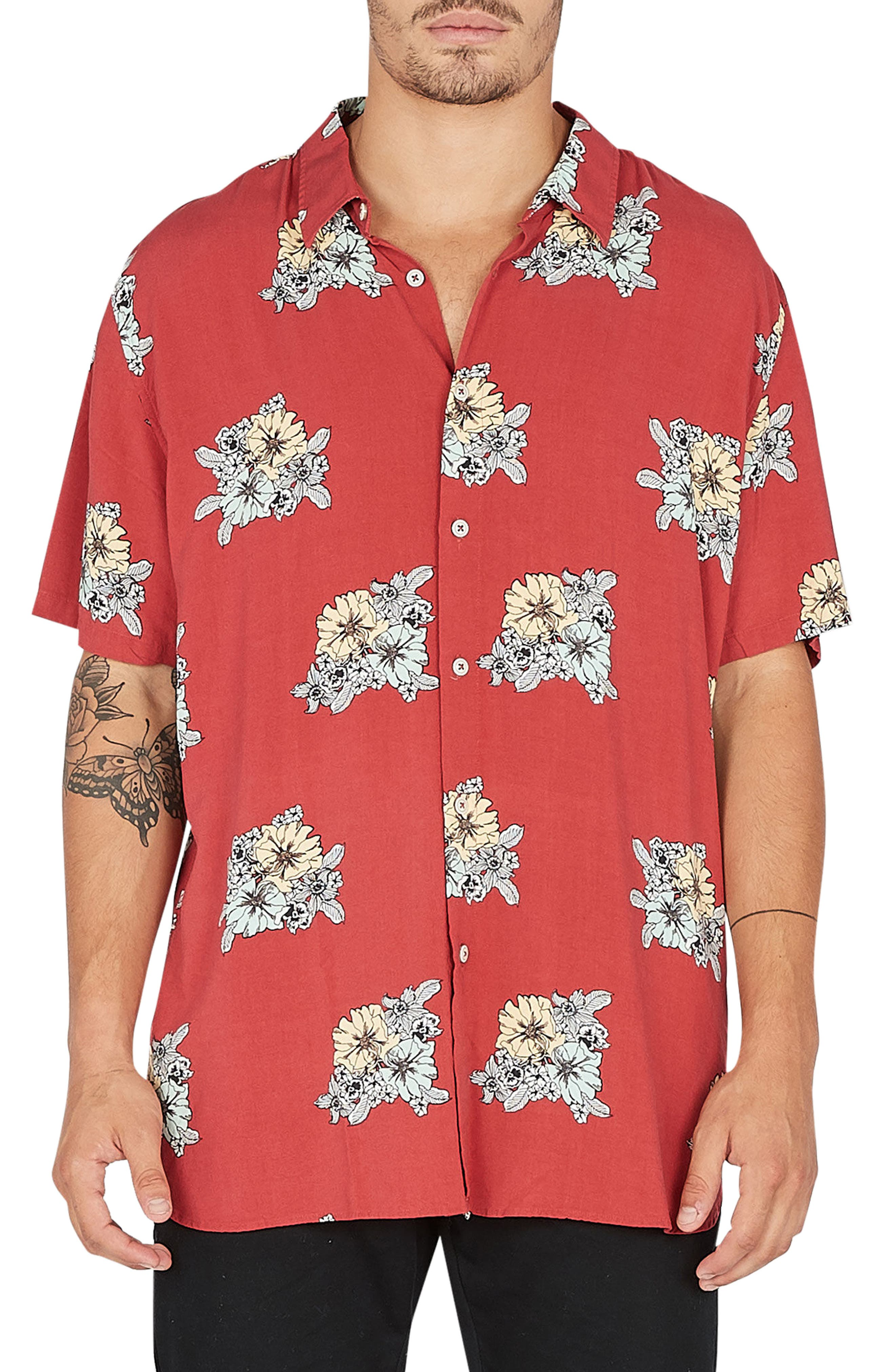 Holiday Woven Shirt,                             Main thumbnail 1, color,                             Red Floral