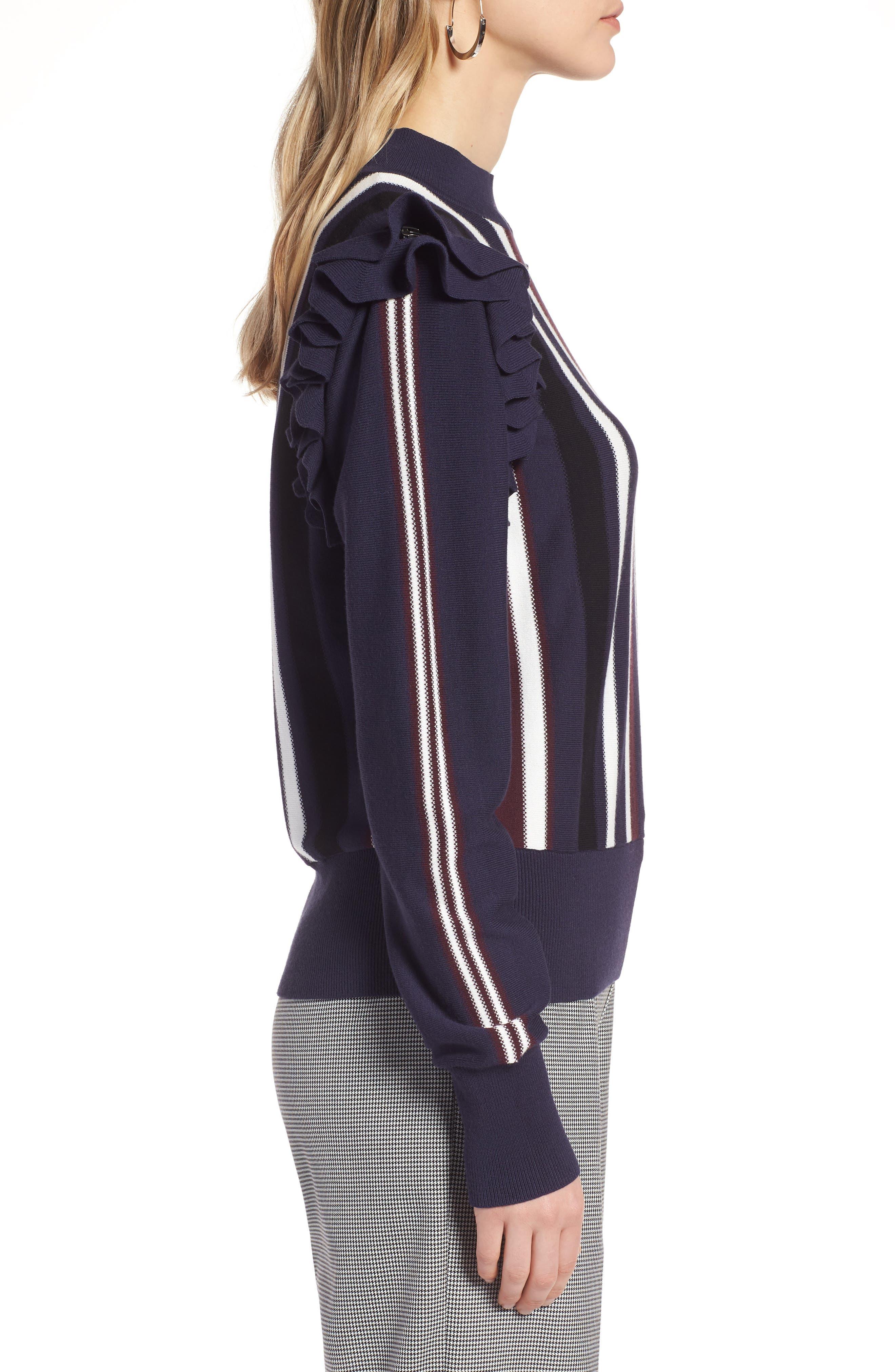 Detachable Sleeve Sweater,                             Alternate thumbnail 3, color,                             Navy Stripe