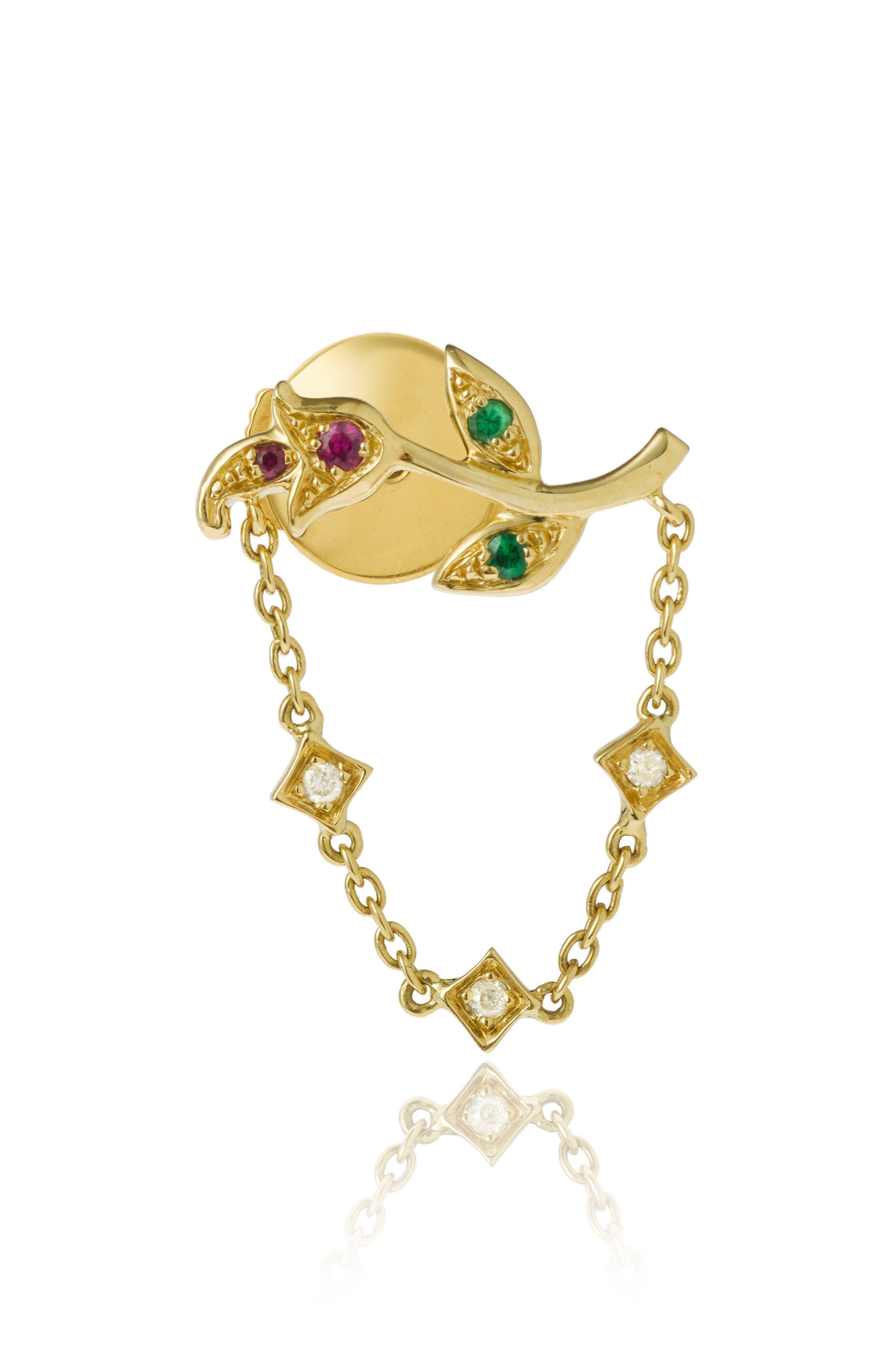 Yvonne Léon Rose Chain Earring