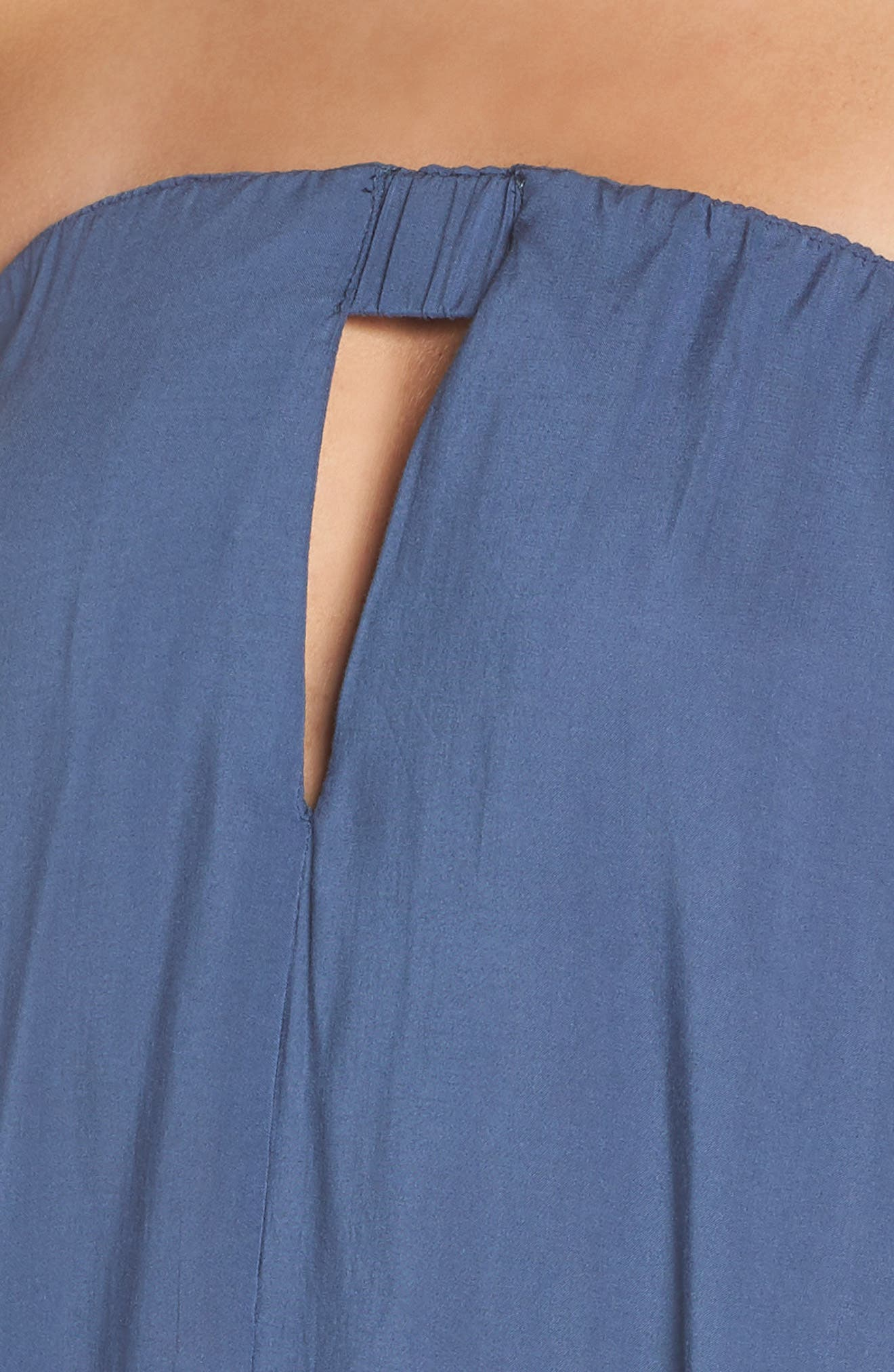 Strapless Keyhole Cover-Up Maxi Dress,                             Alternate thumbnail 4, color,                             Indigo