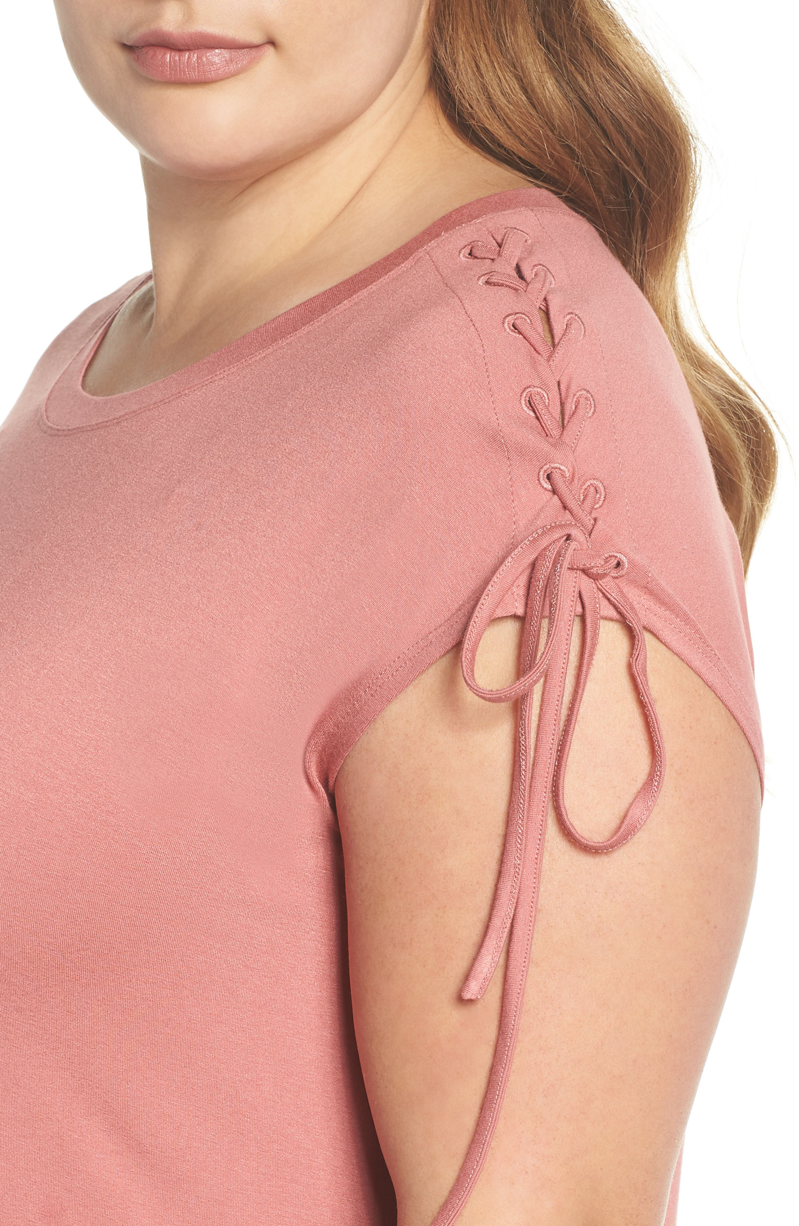 Lace-Up Shoulder T-Shirt Dress,                             Alternate thumbnail 4, color,                             Claret Shadow
