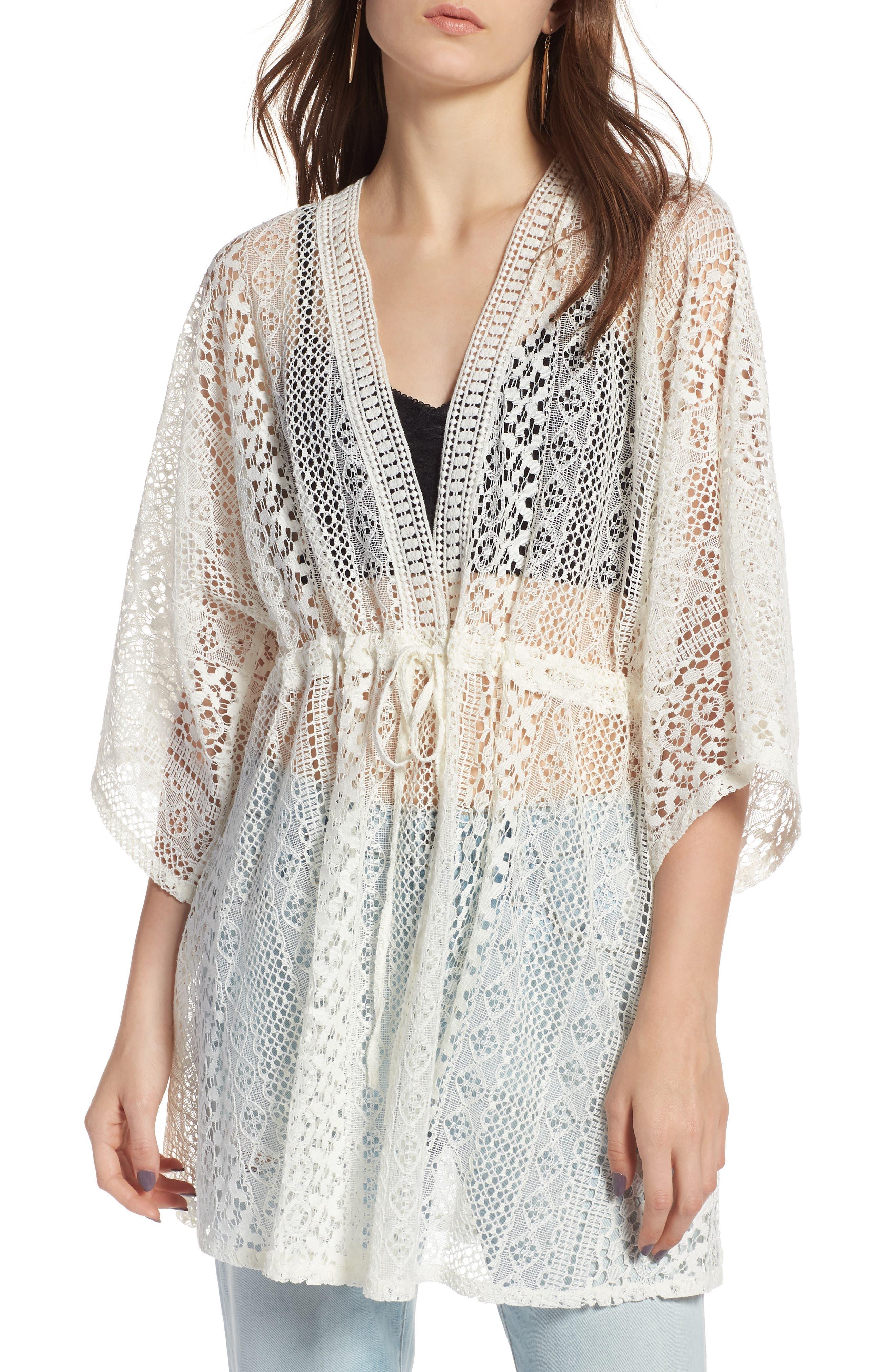 Lace Kimono Pullover,                             Main thumbnail 1, color,                             White