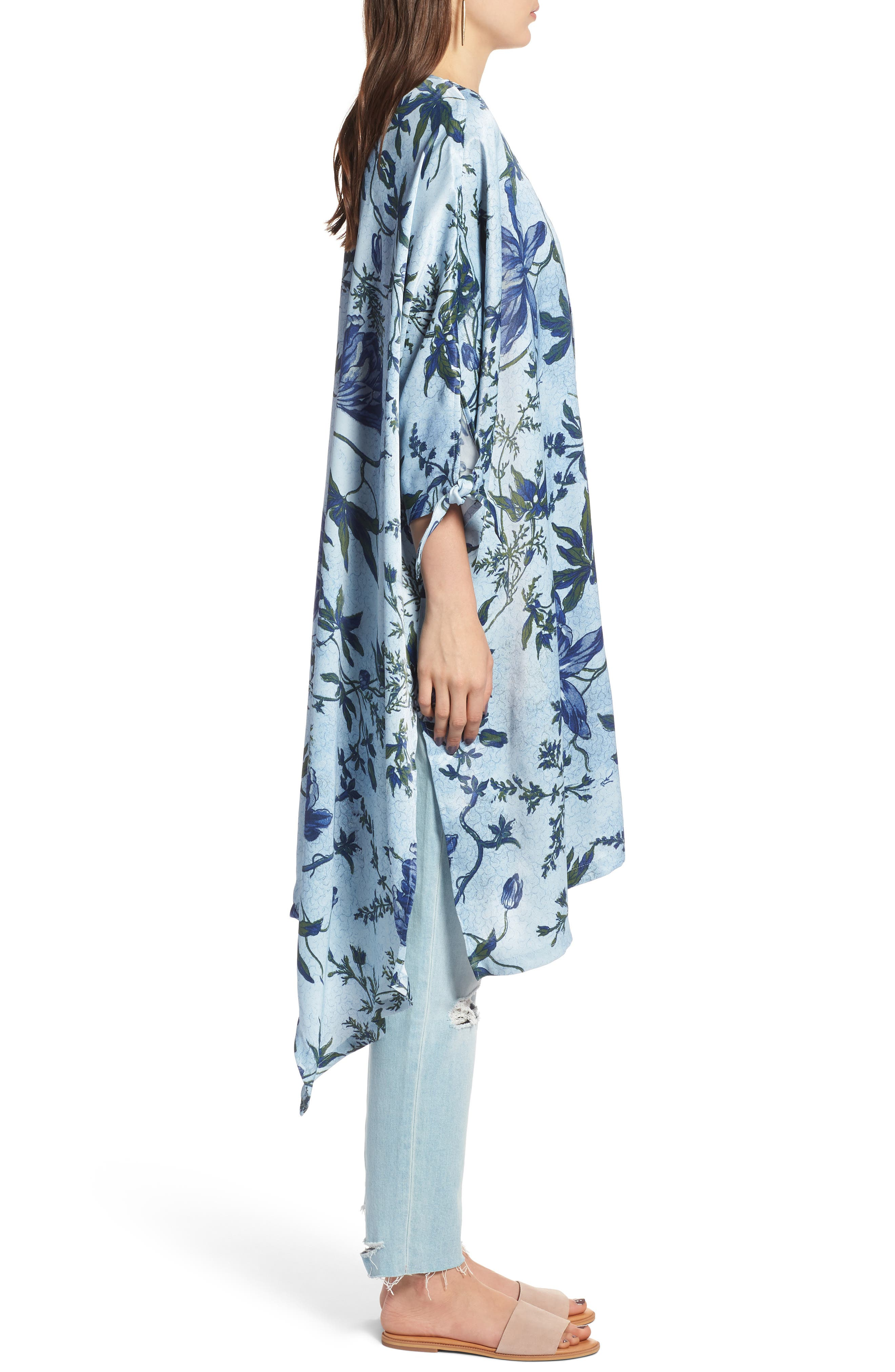 High/Low Kimono,                             Alternate thumbnail 3, color,                             Blue Trailing Vines Floral