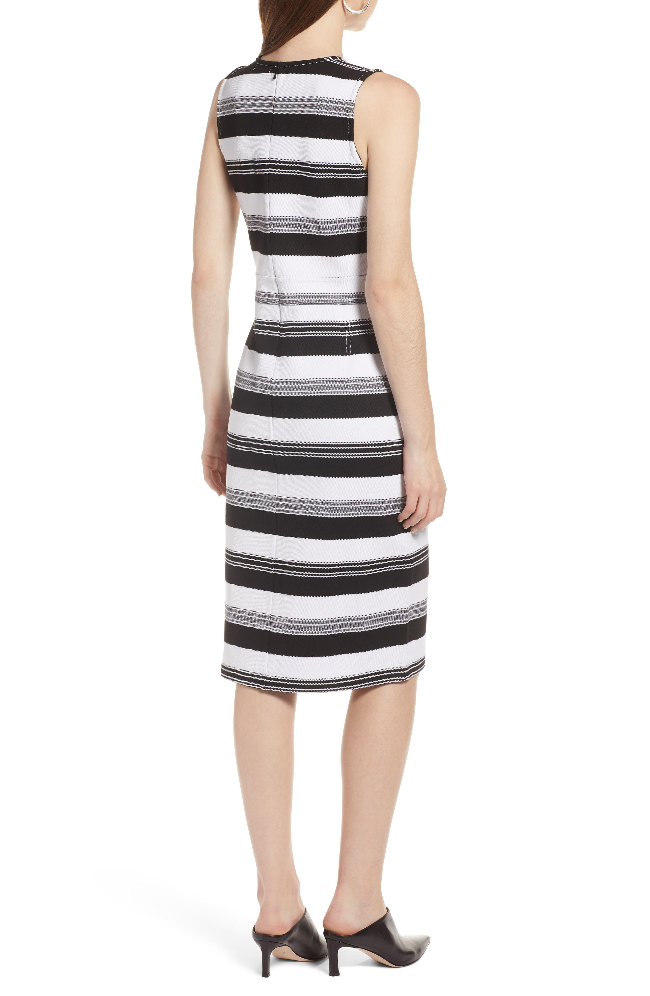 Stripe Knit Dress,                             Alternate thumbnail 2, color,                             Black- Ivory Stripe
