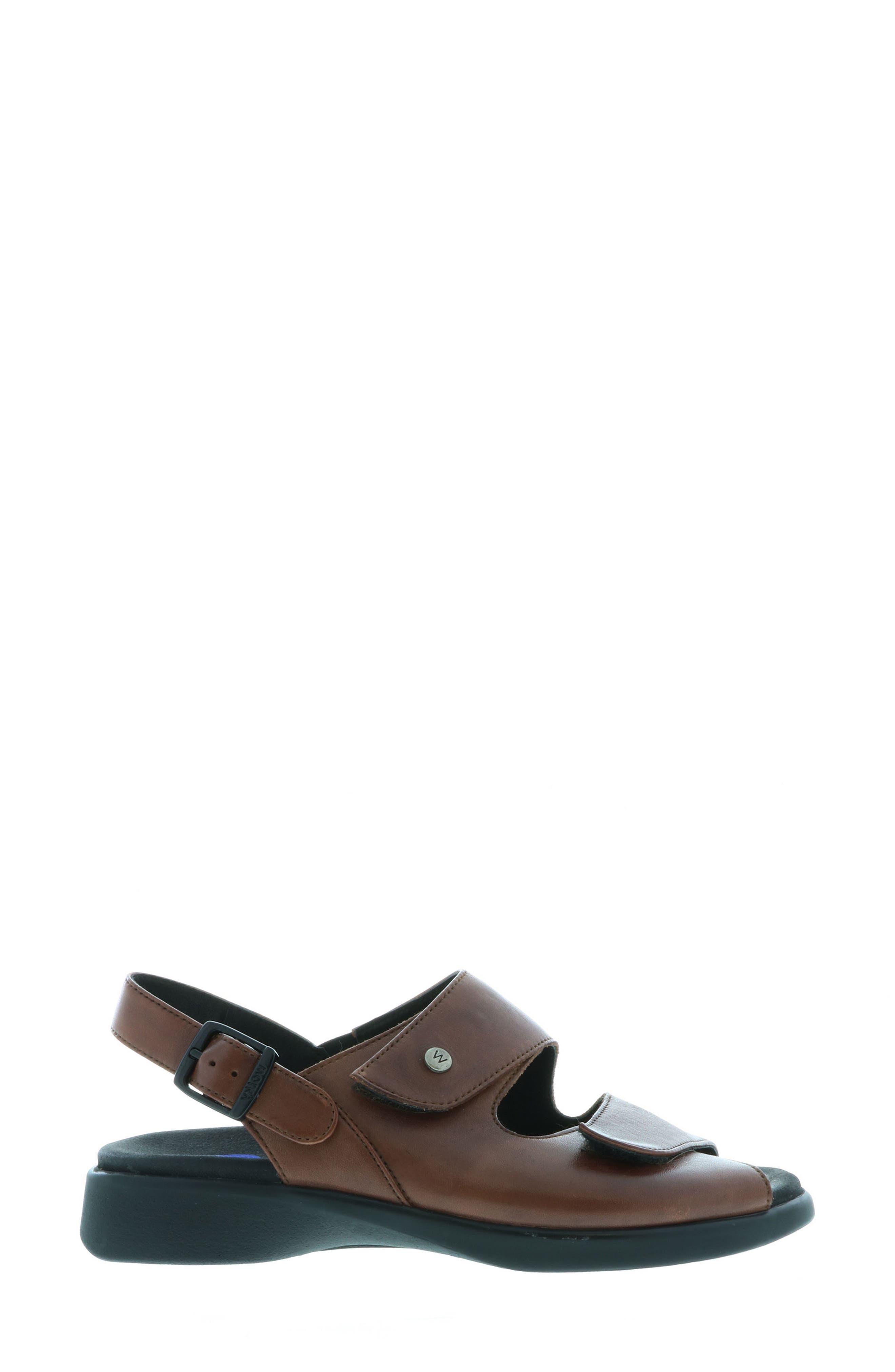 Nimes Sandal,                             Alternate thumbnail 3, color,                             Cognac Faux Leather