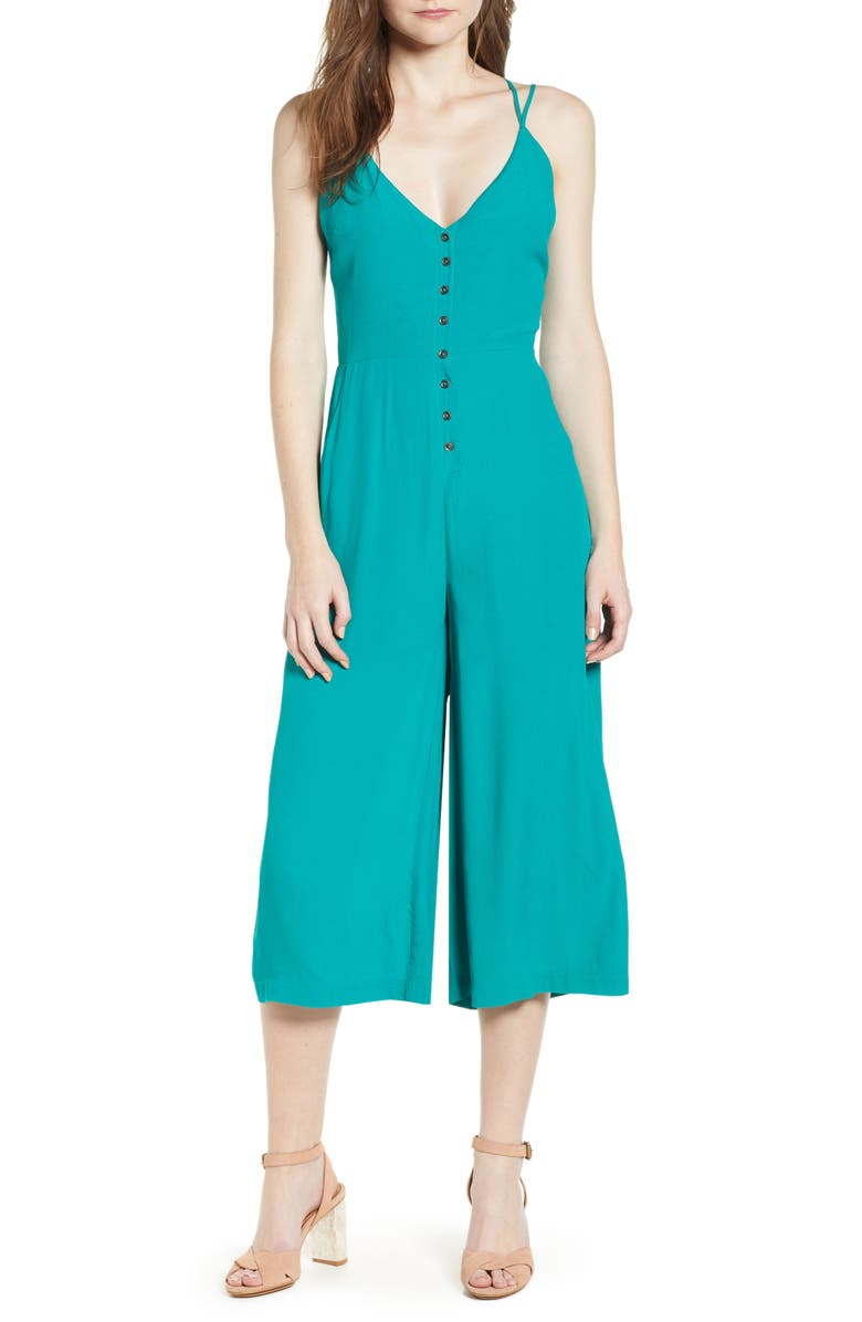 Verdera Button Front Crop Jumpsuit