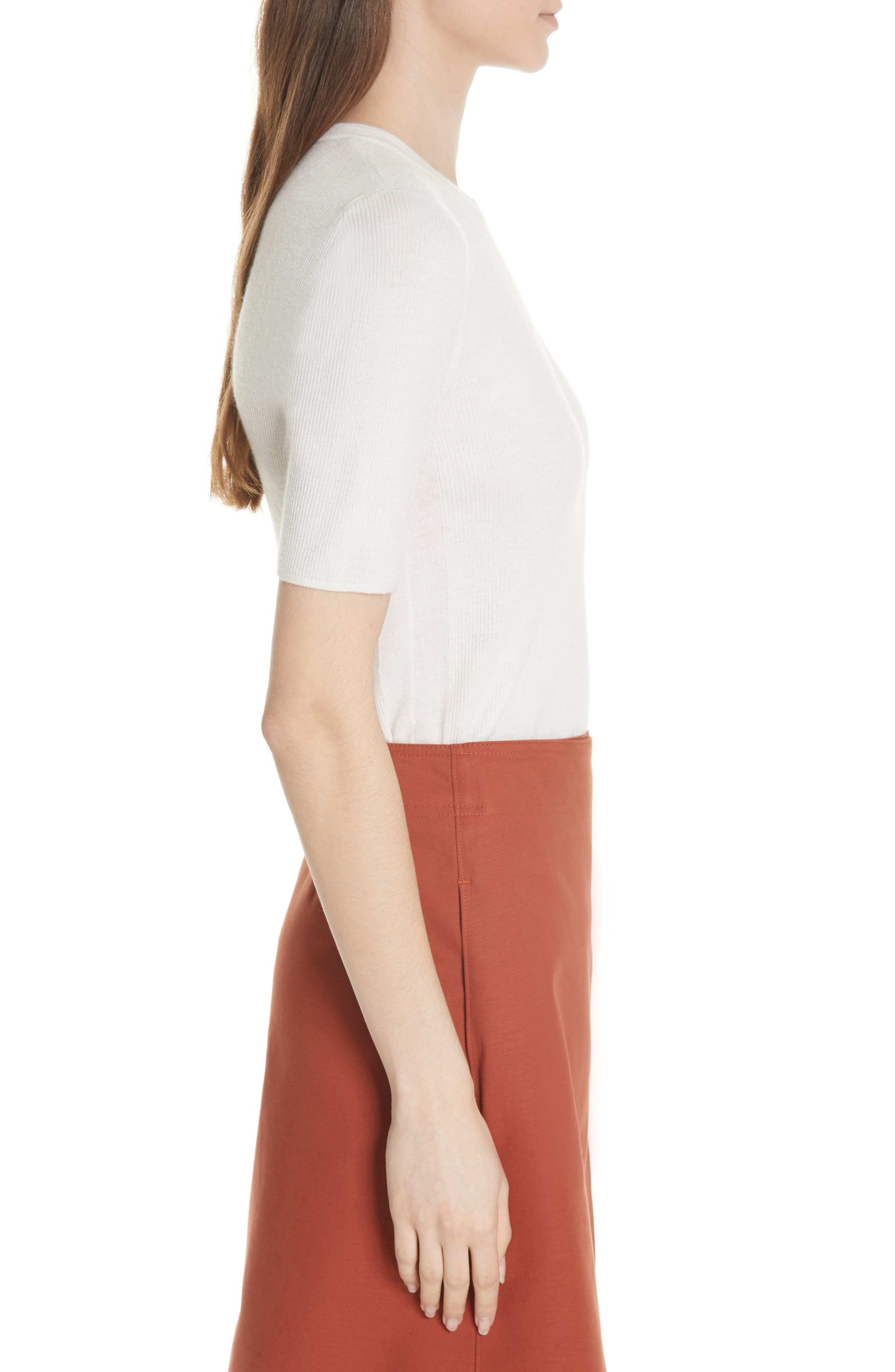 Taylor Ribbed Cashmere Sweater,                             Alternate thumbnail 5, color,                             New Ivory