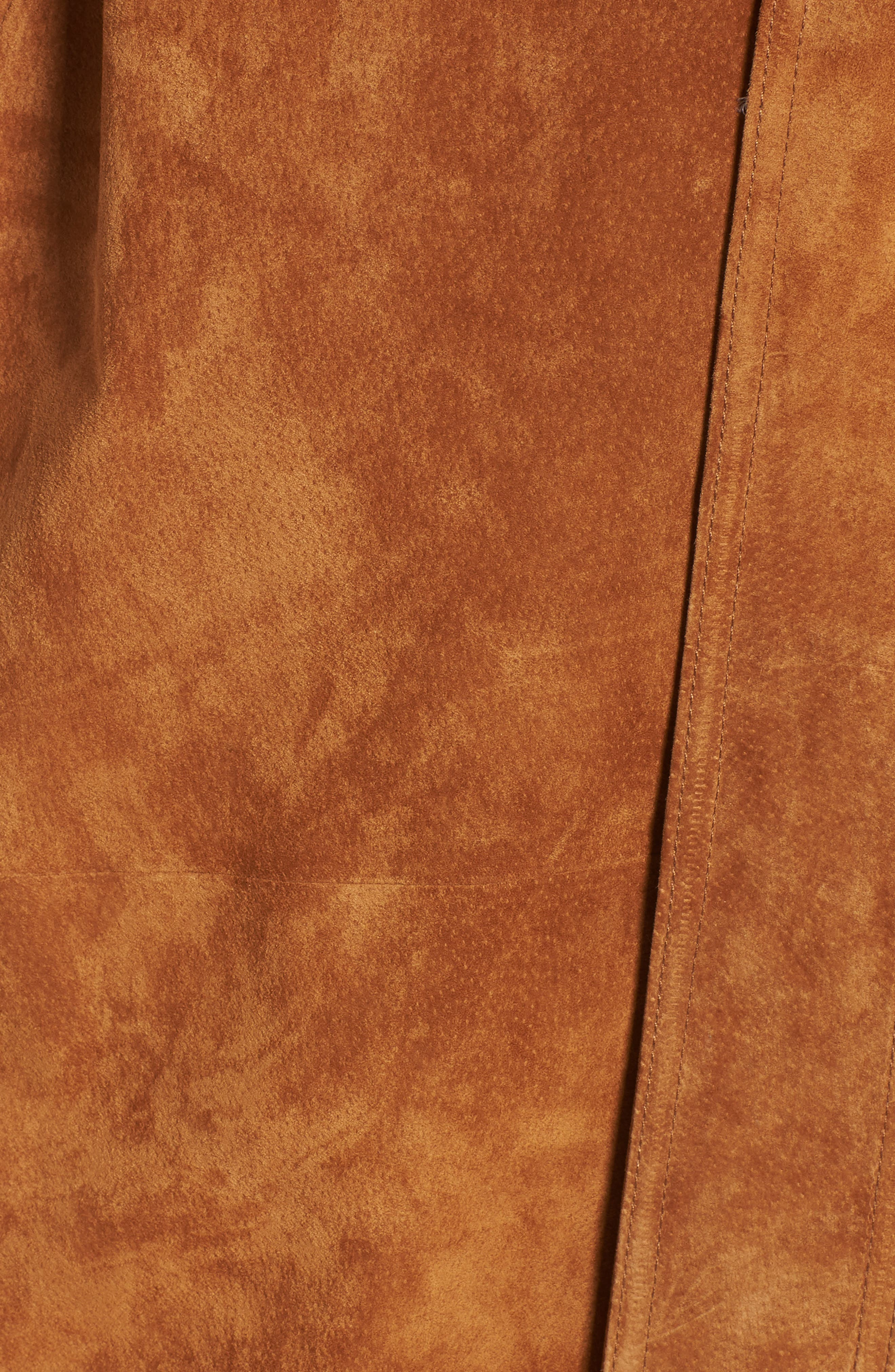 Genuine Suede Trench Coat,                             Alternate thumbnail 6, color,                             Brandy