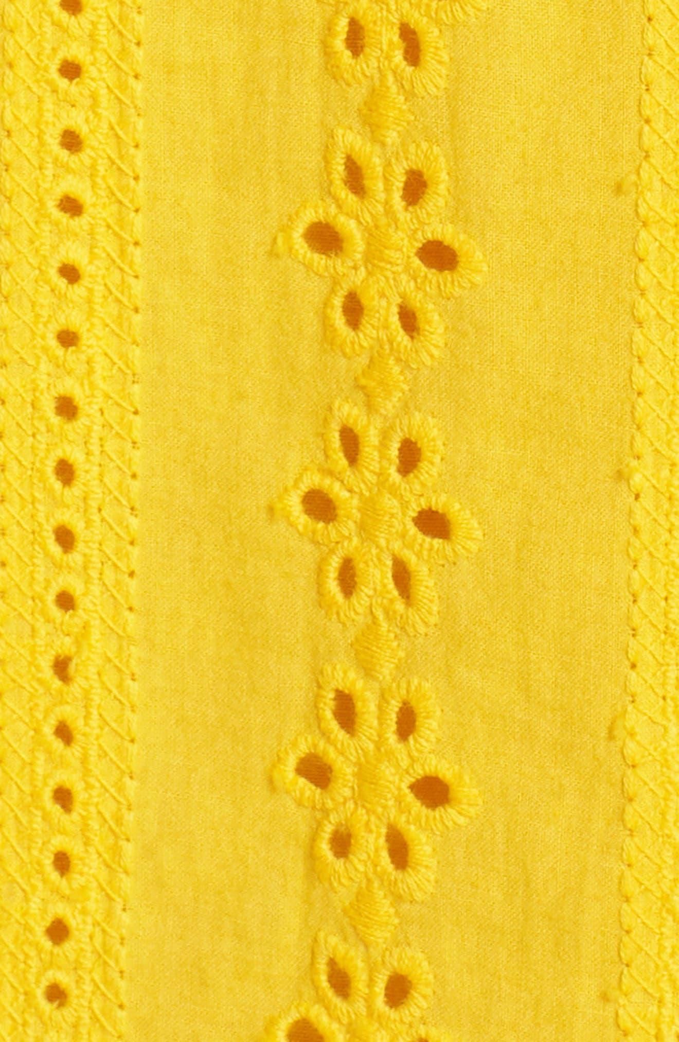 Jessa Ruffle Eyelet Fit & Flare Dress,                             Alternate thumbnail 6, color,                             Lemonade