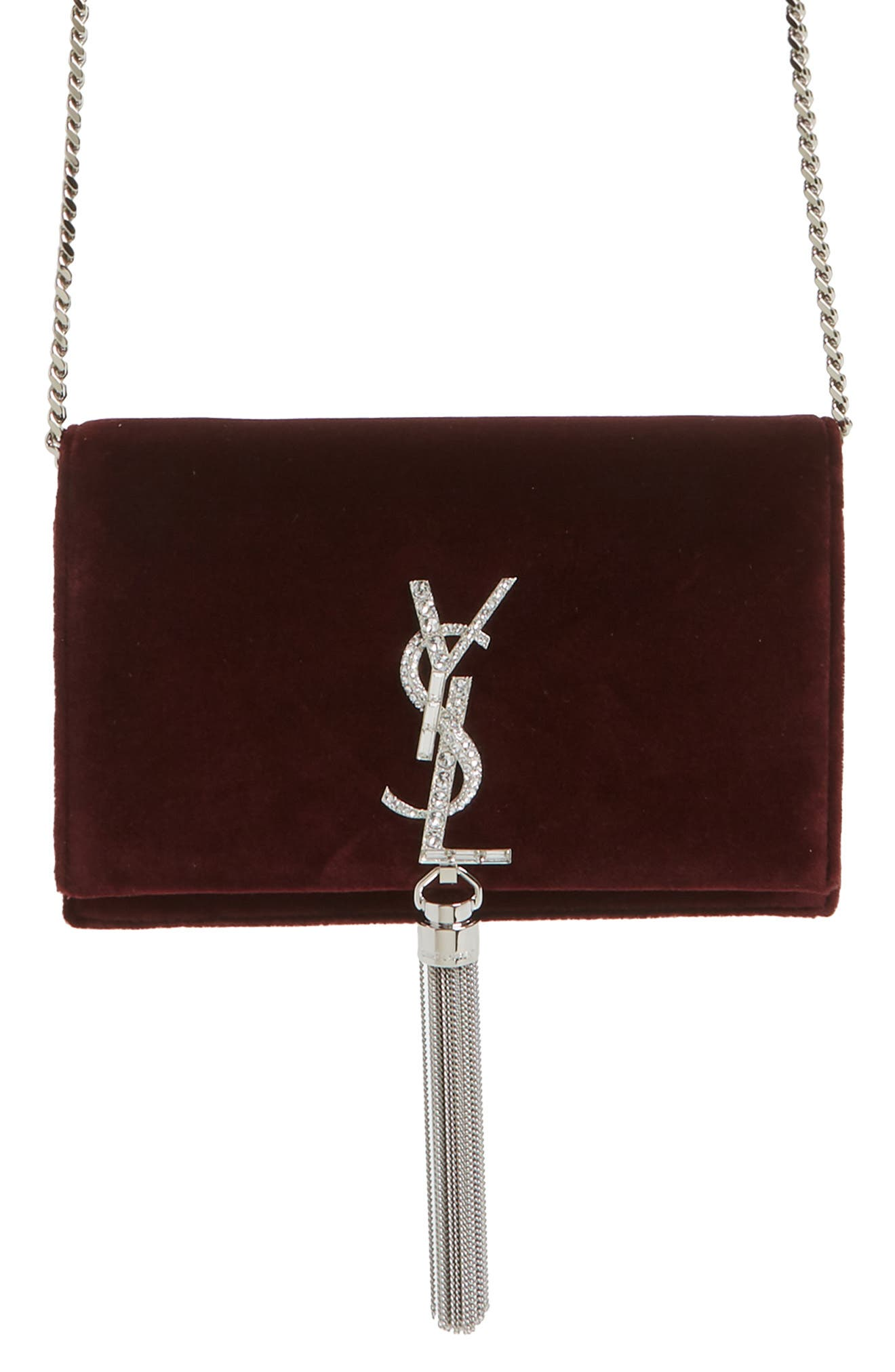 Saint Laurent Small Kate Embellished Velvet Wallet on a Chain