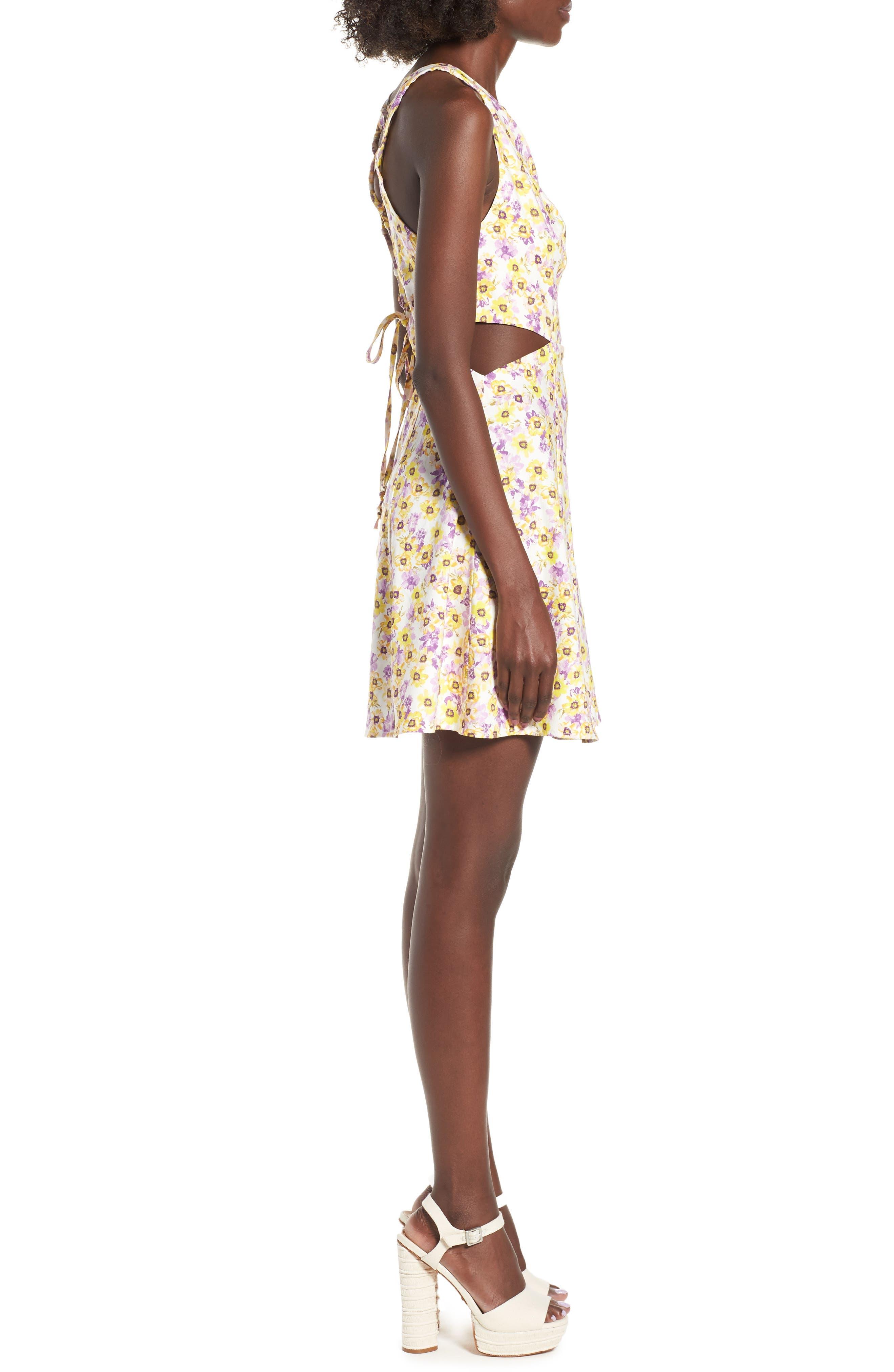 Rayanna Cutout Minidress,                             Alternate thumbnail 3, color,                             Yellow Garden