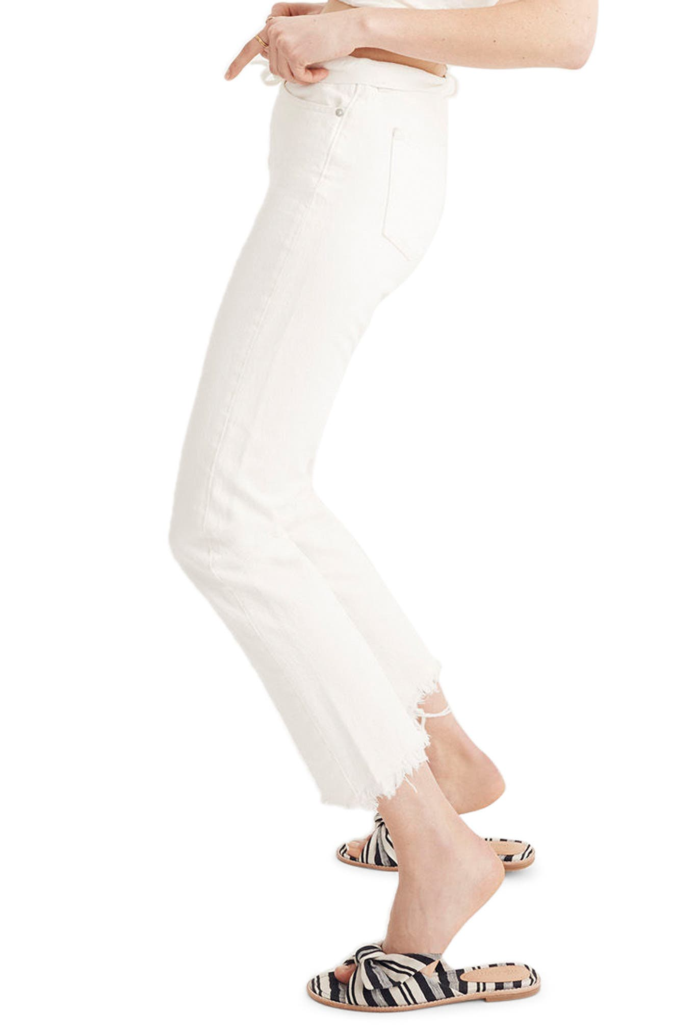 Perfect Summer High Waist Pieced Jeans,                             Alternate thumbnail 3, color,                             Tile White