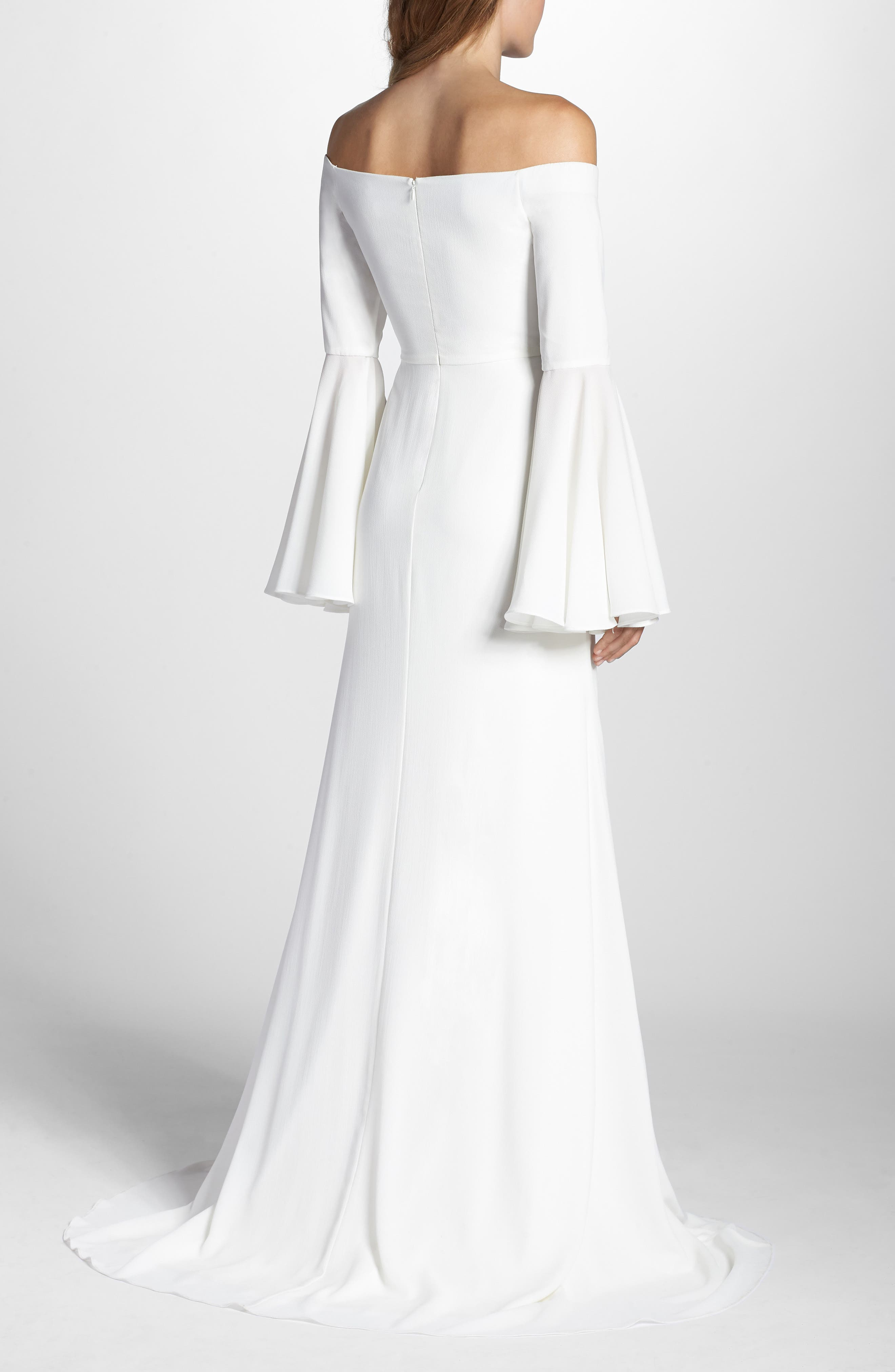 Bowie Off the Shoulder Bell Sleeve Gown,                             Alternate thumbnail 2, color,                             White