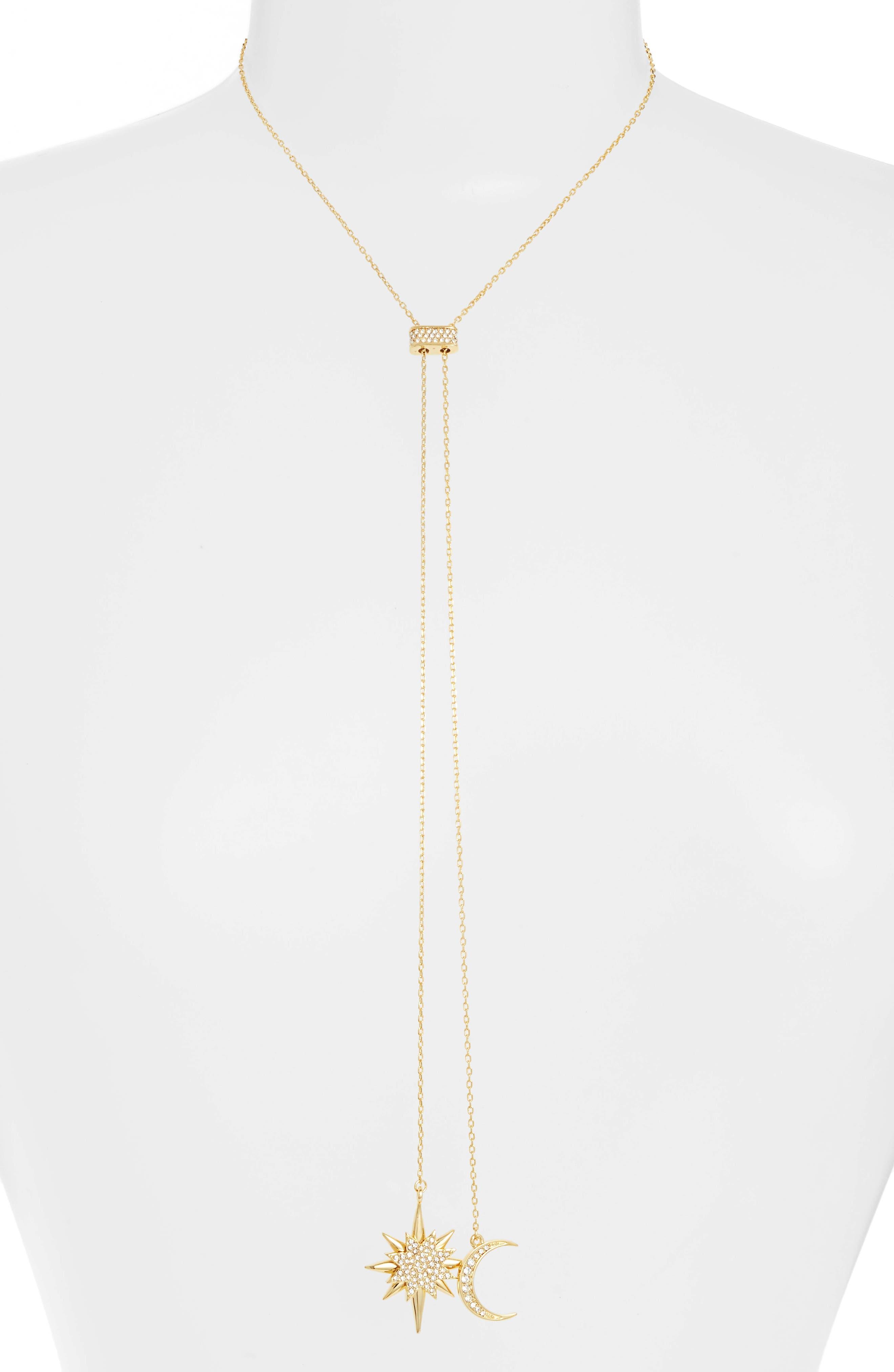 Celestial Skies Slider Pendant Necklace,                             Alternate thumbnail 3, color,                             Gold