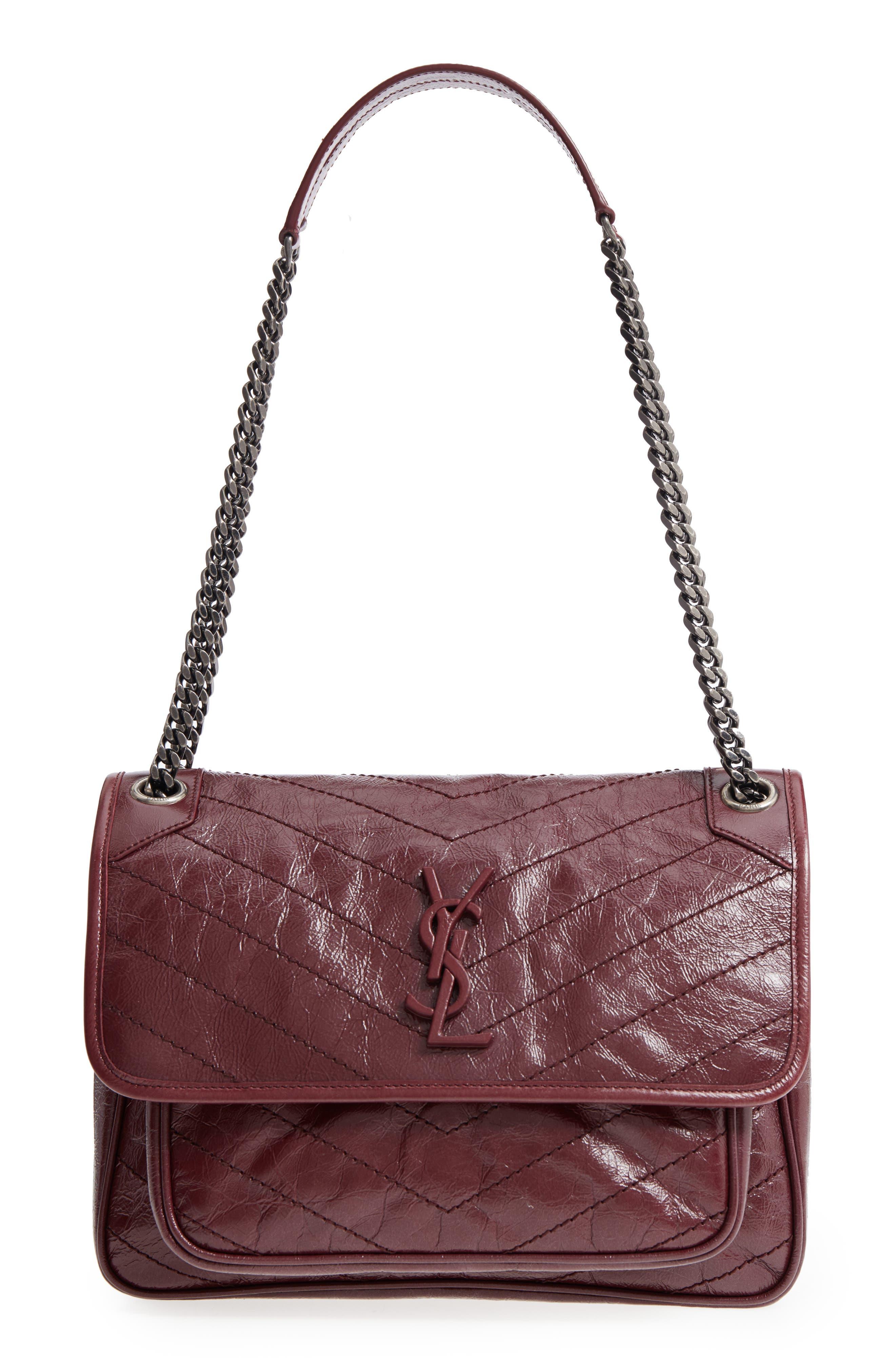 Medium Niki Leather Shoulder Bag,                             Main thumbnail 1, color,                             Rouge Legion