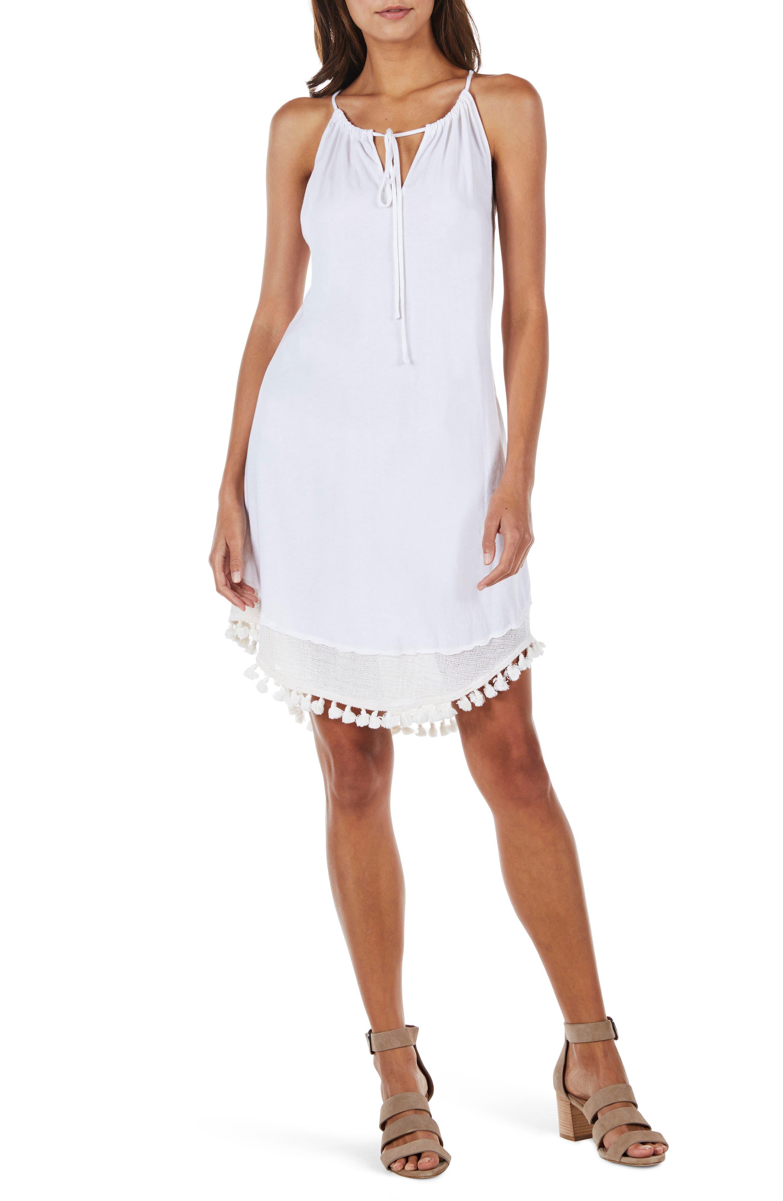 Tassel Trim Tank Dress,                             Main thumbnail 1, color,                             White