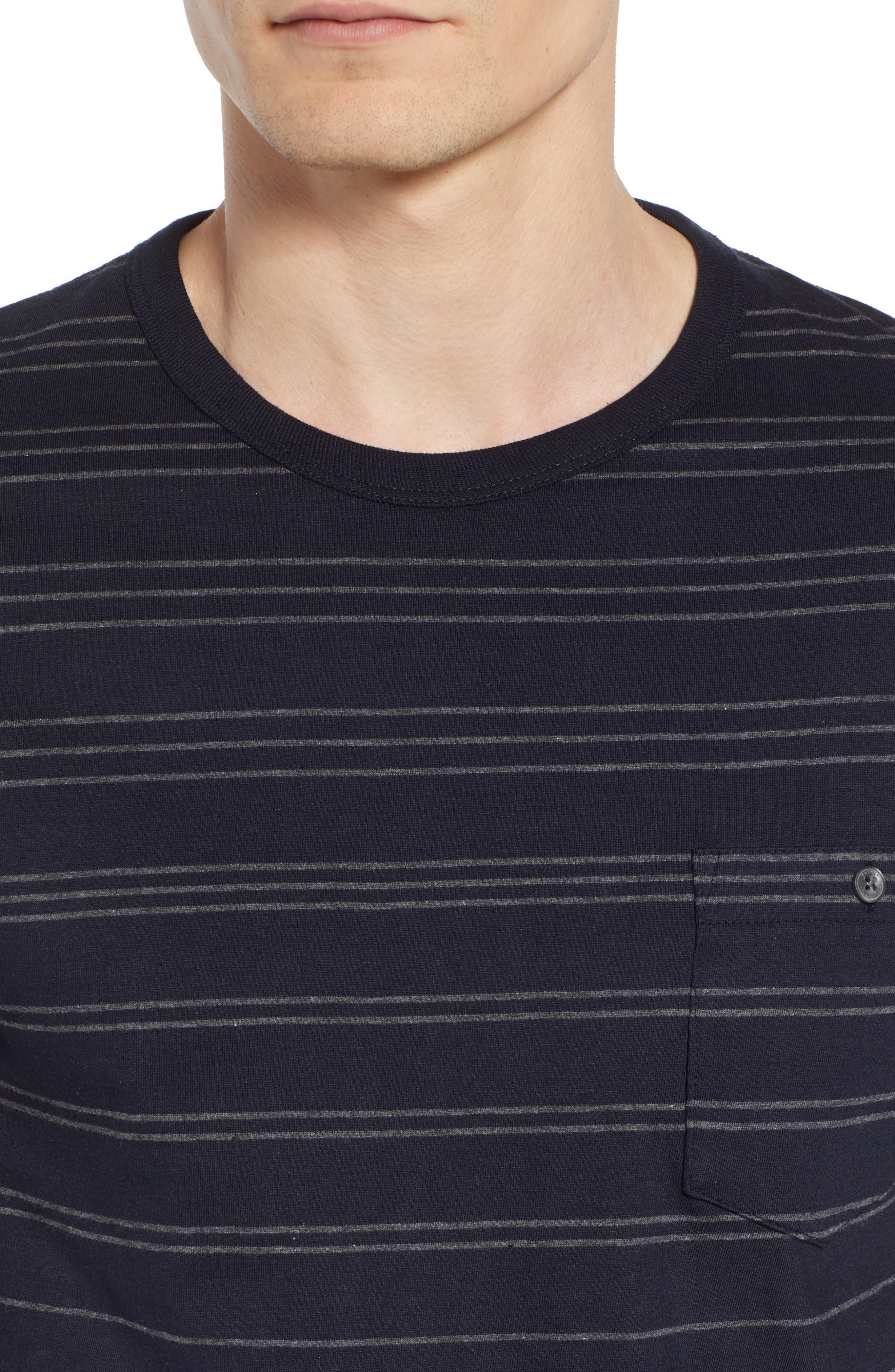 Summer Graded Stripe Pocket T-Shirt,                             Alternate thumbnail 4, color,                             Marine Blue Charcoal Melange