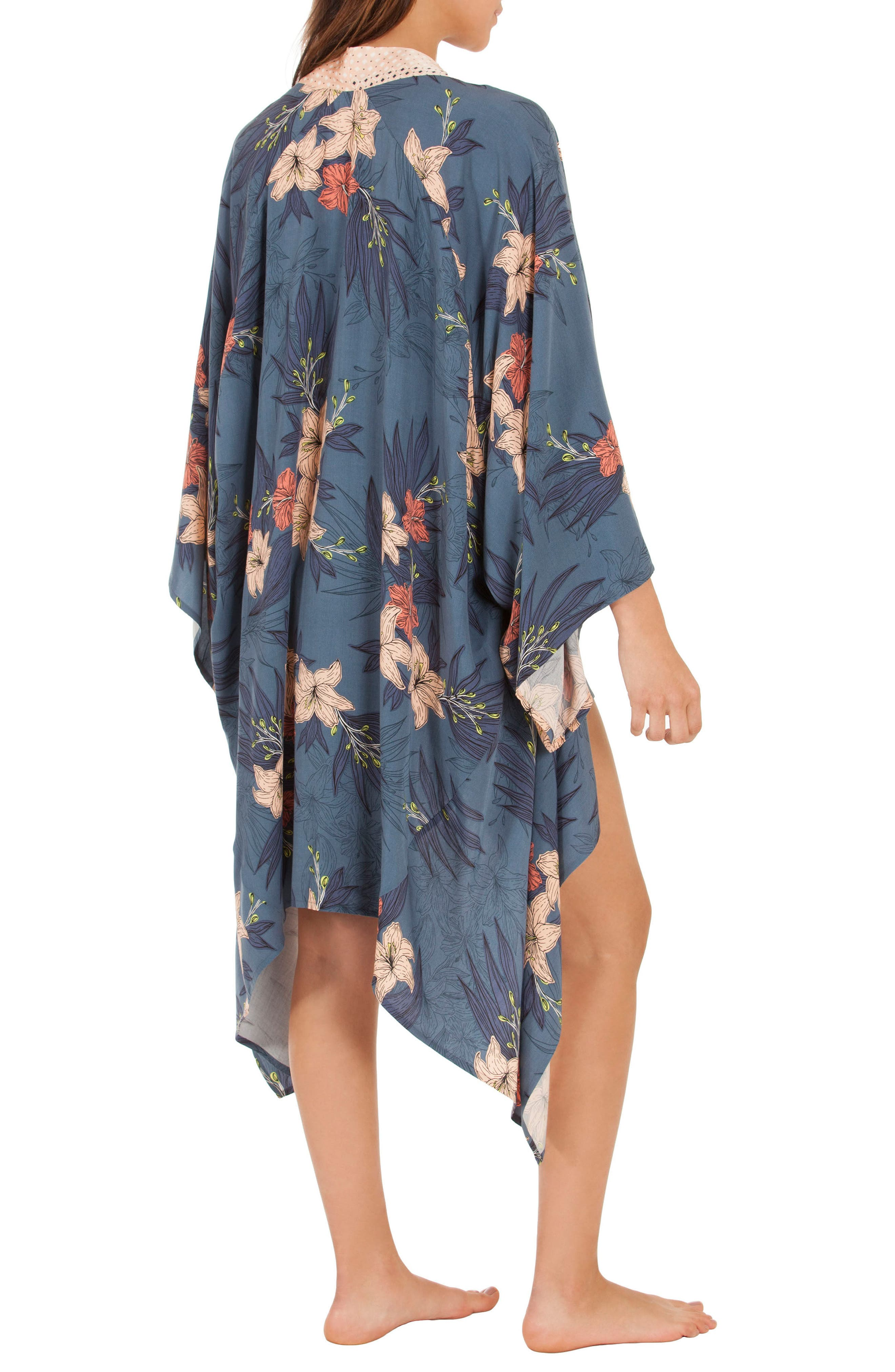 Floral Kimono Robe,                             Alternate thumbnail 2, color,                             Blue Floral
