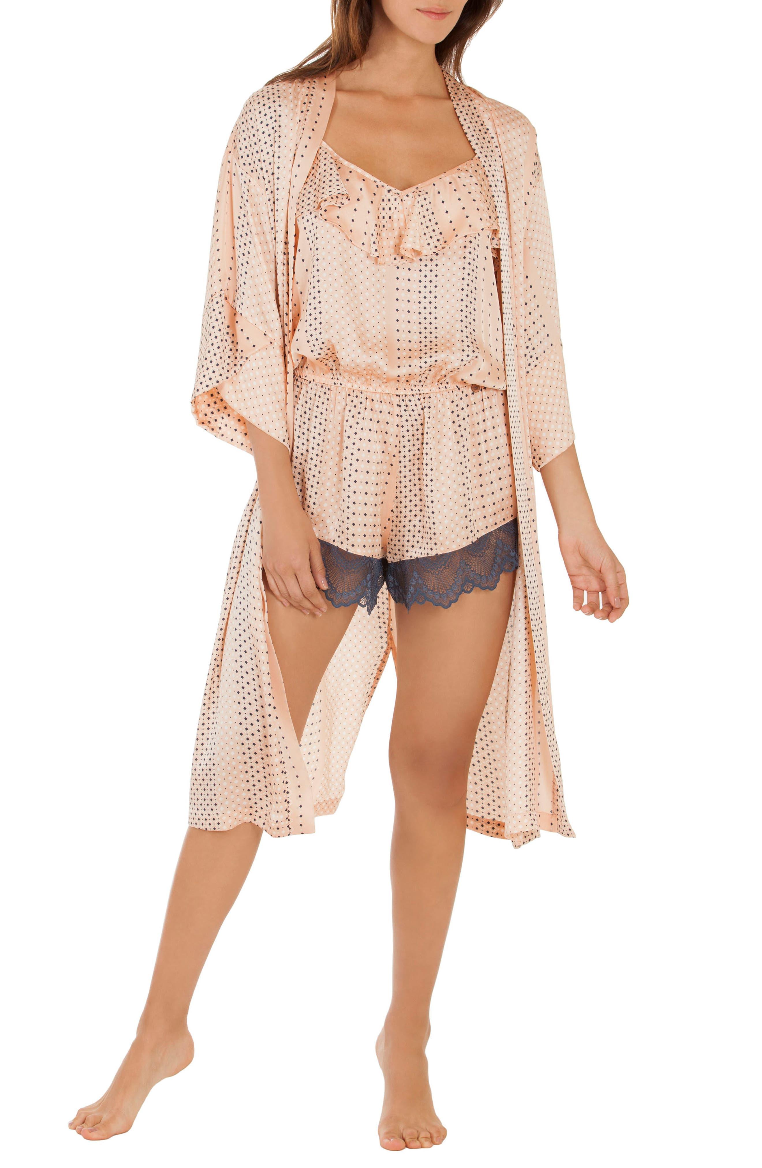 Kimono Robe,                             Main thumbnail 1, color,                             Coral Geo
