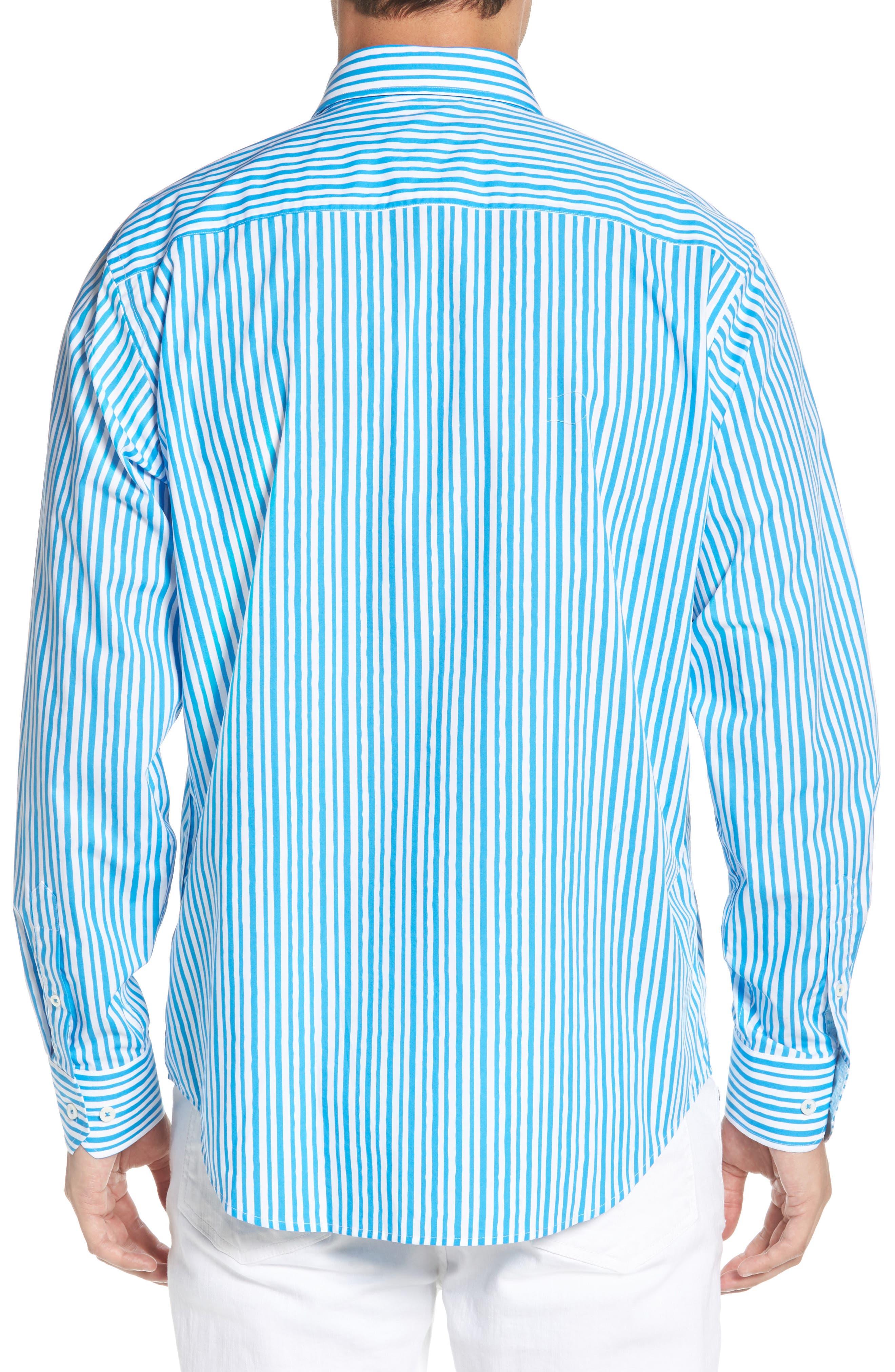 Classic Fit Wavy Stripe Sport Shirt,                             Alternate thumbnail 3, color,                             Turquoise