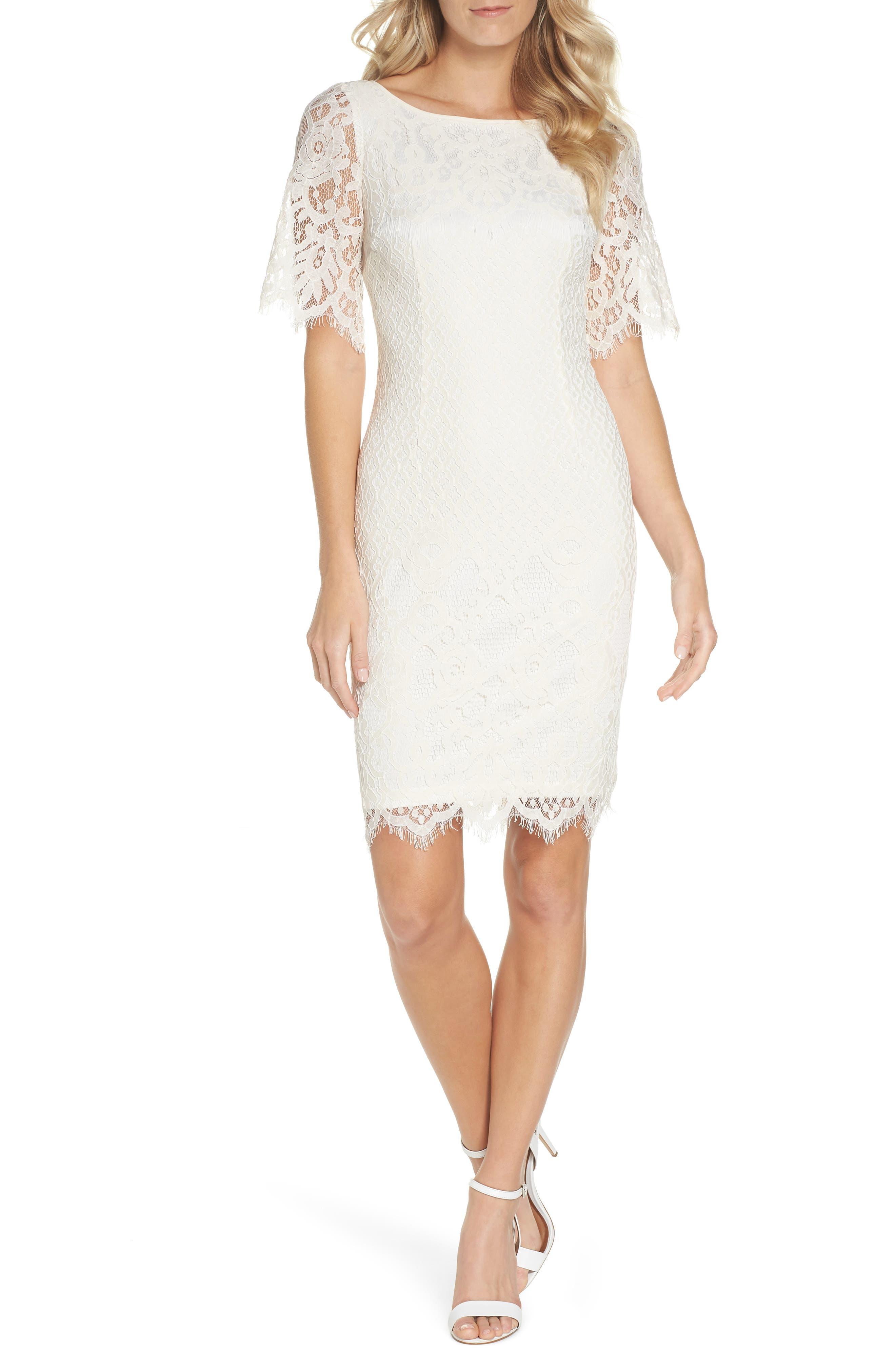 Georgia Scalloped Lace Sheath Dress,                             Main thumbnail 1, color,                             Ivory