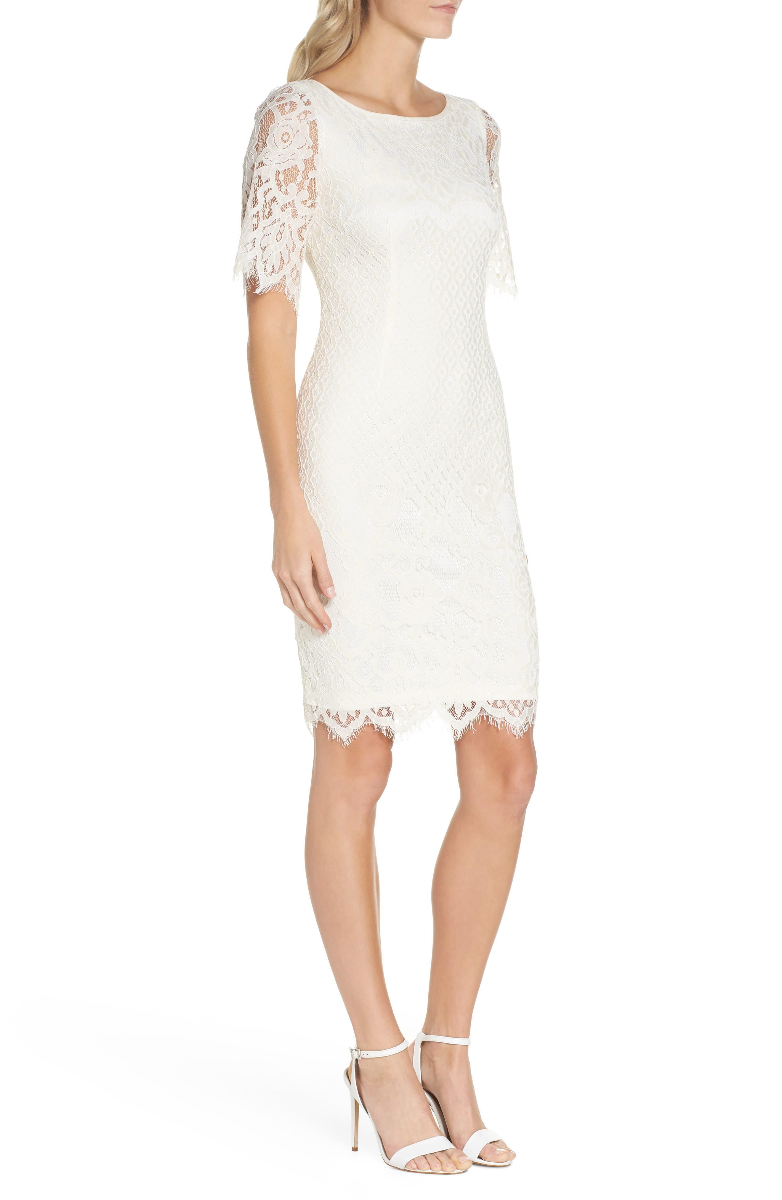 Georgia Scalloped Lace Sheath Dress,                             Alternate thumbnail 3, color,                             Ivory