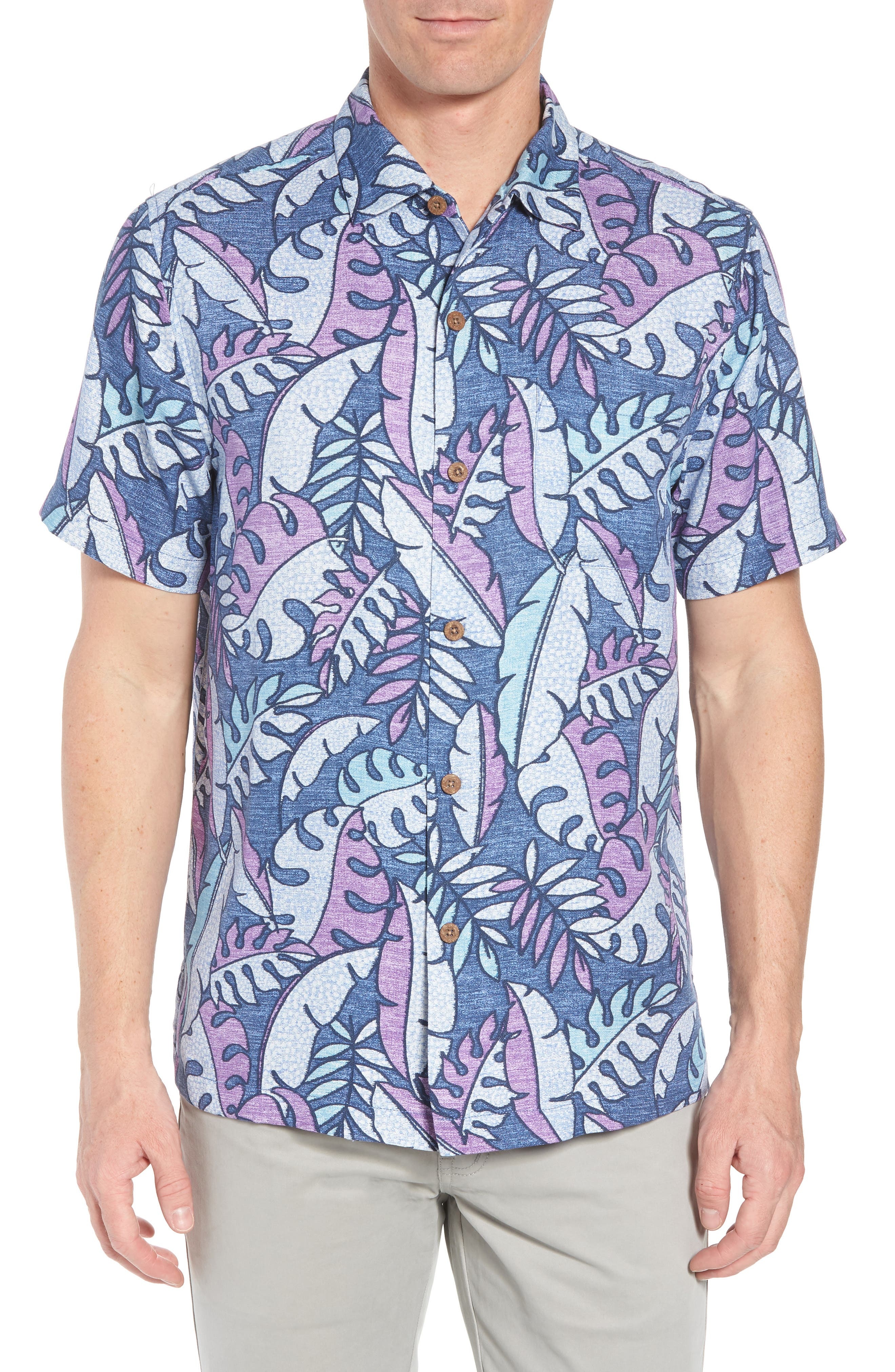 Mateo Fronds Silk Blend Camp Shirt,                             Main thumbnail 1, color,                             Ocean Deep