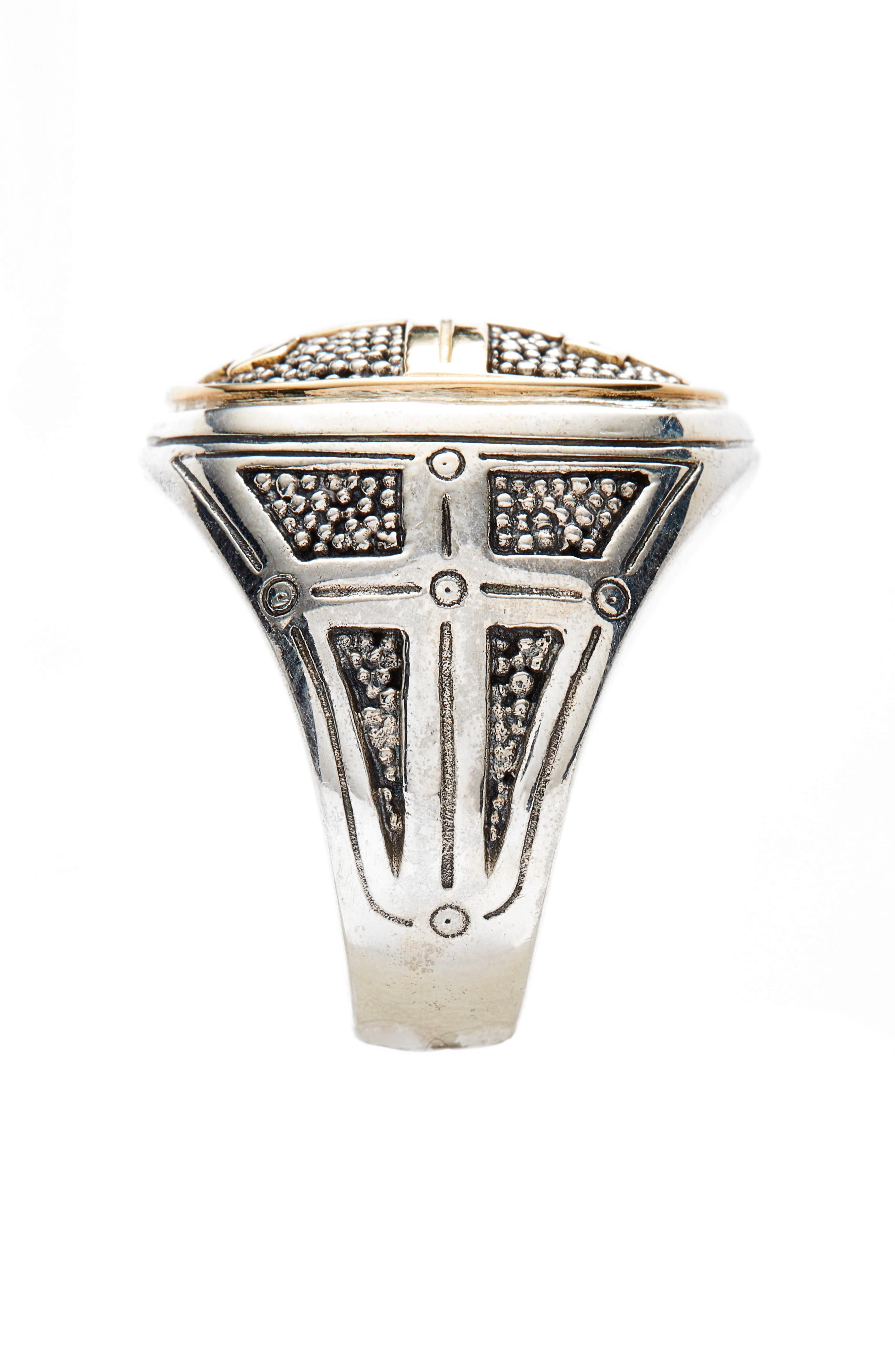 Large Stavros Cross Signet Ring,                             Alternate thumbnail 2, color,                             Silver/ Gold
