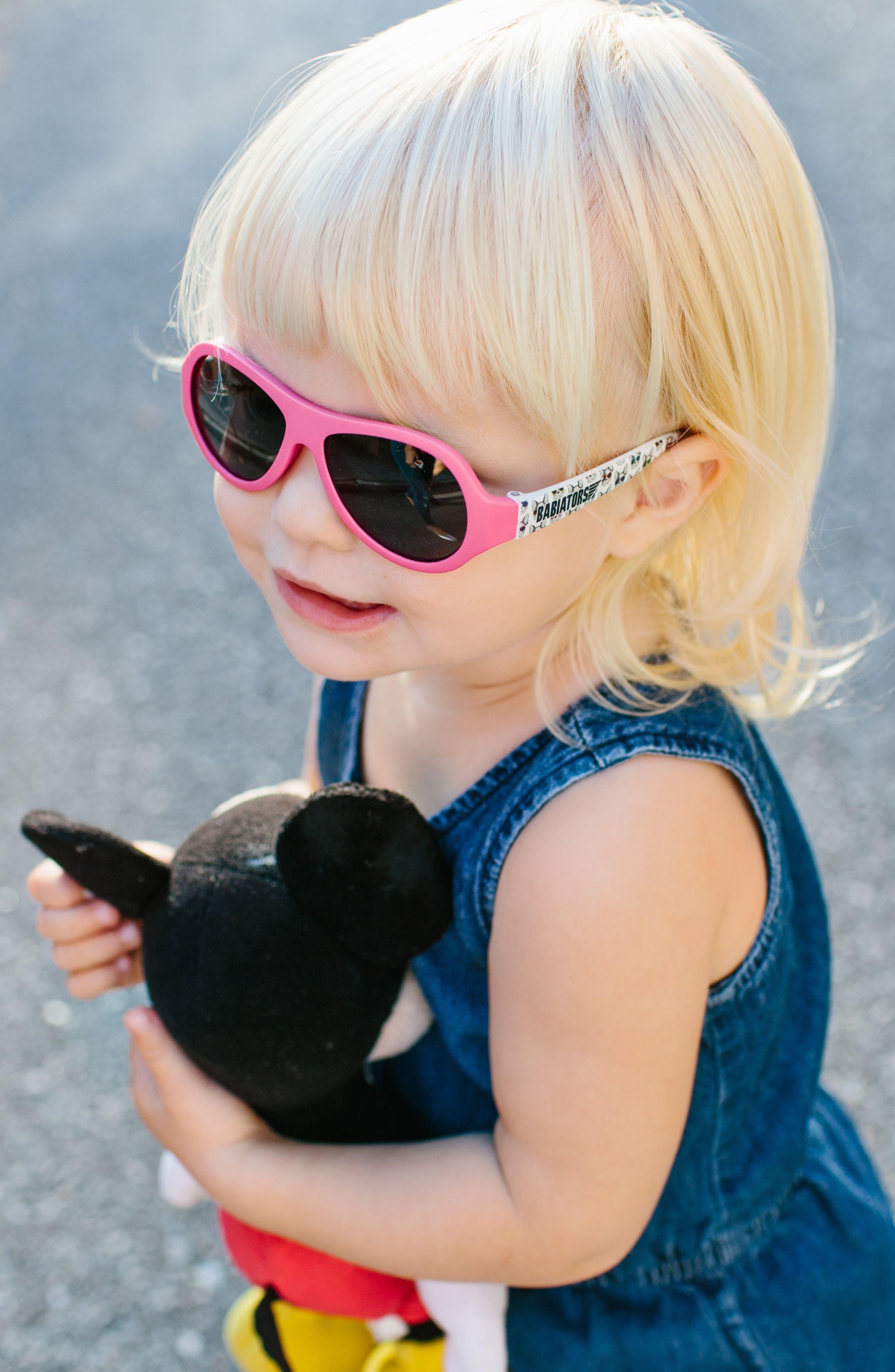 Puppy Print Polarized Aviator Sunglasses,                             Alternate thumbnail 5, color,                             Puppy Love
