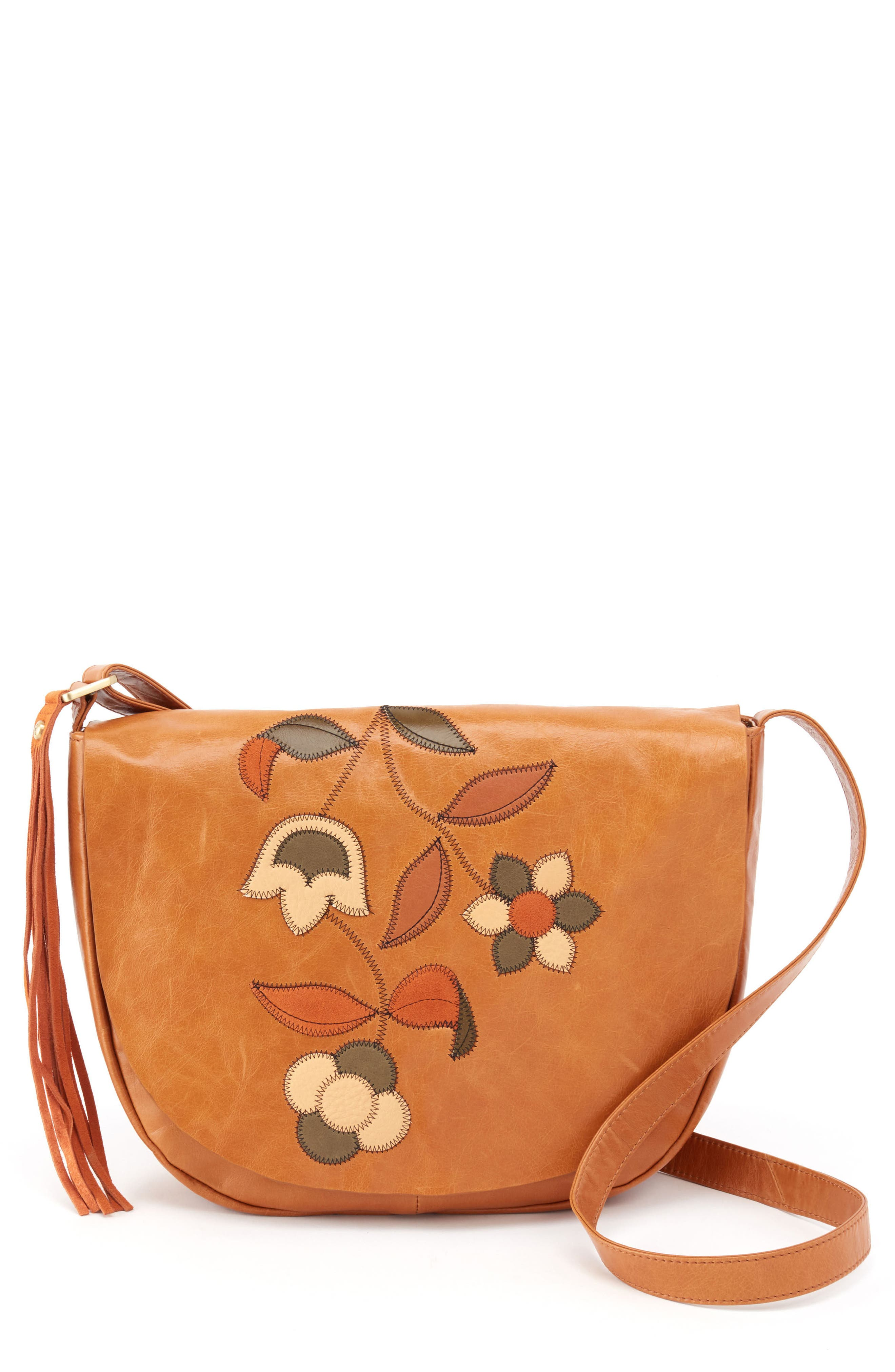 Hobo Maverick Floral Appliqué Leather Crossbody Bag