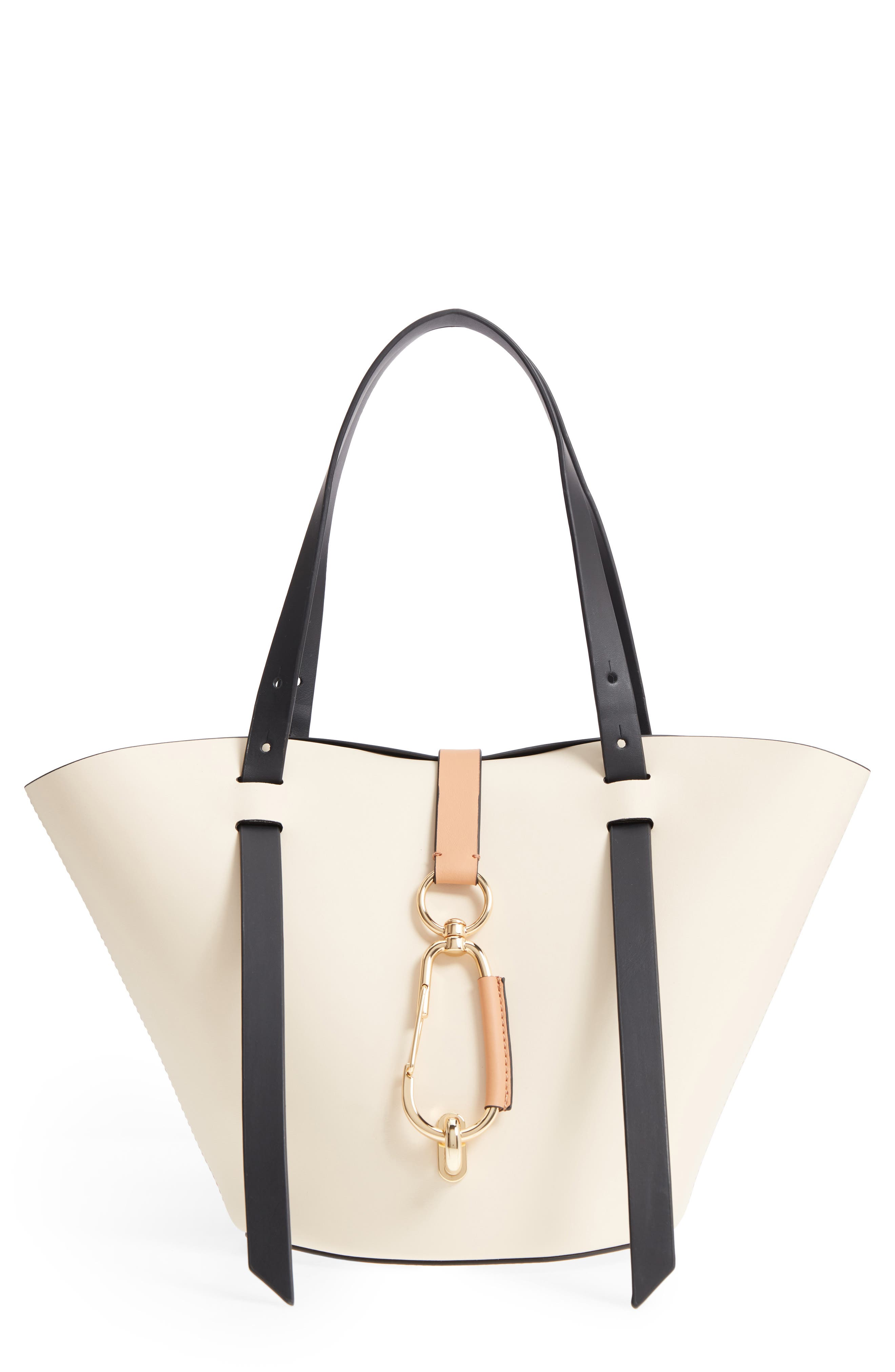 Small Belay Leather Tote,                             Main thumbnail 1, color,                             Ivory