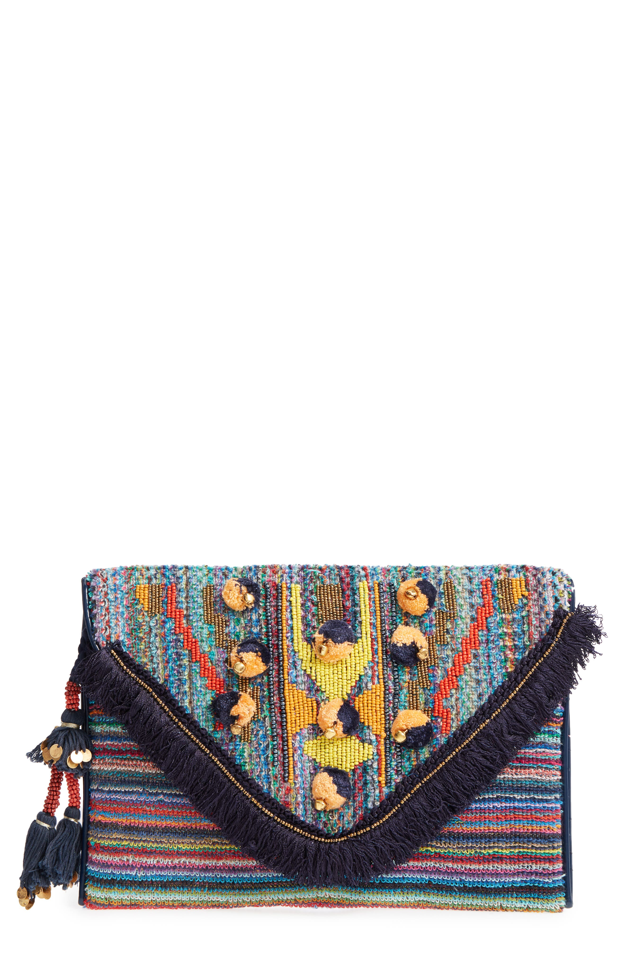 Pennie Embellished Envelope Clutch,                         Main,                         color, Multi