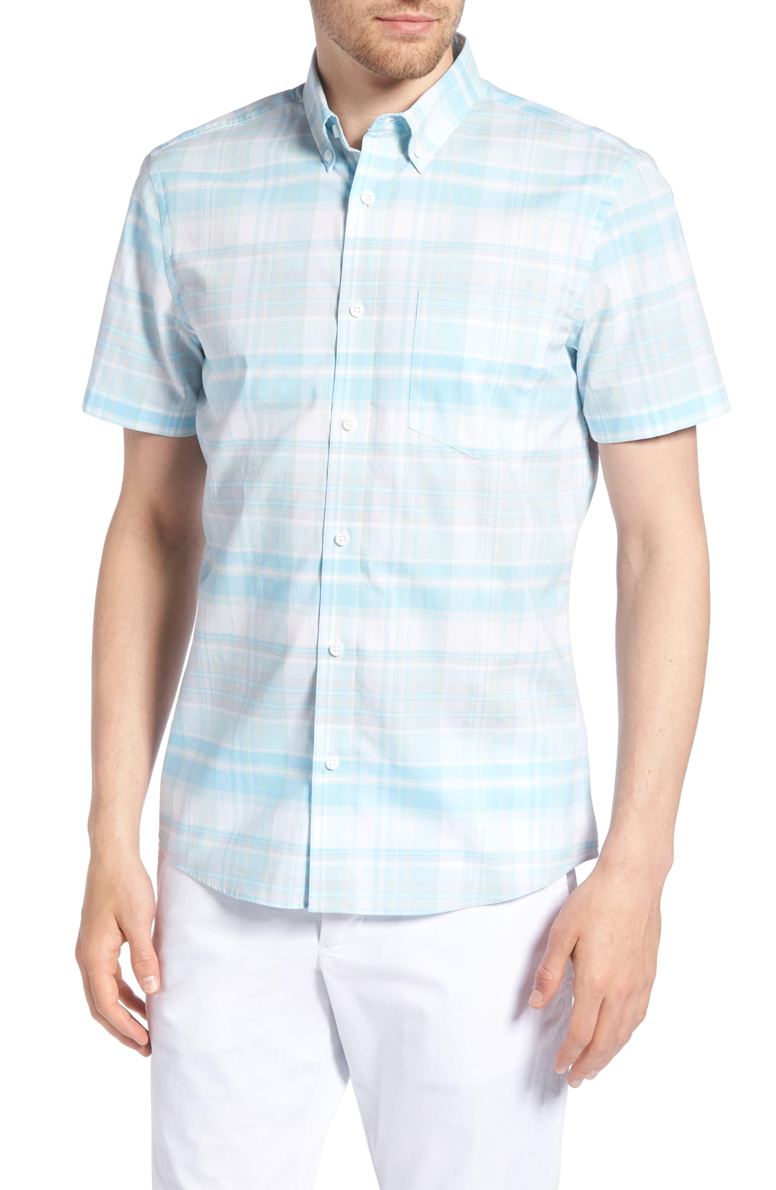 Trim Fit Plaid Sport Shirt,                         Main,                         color, Blue Orydalis Teal Plaid