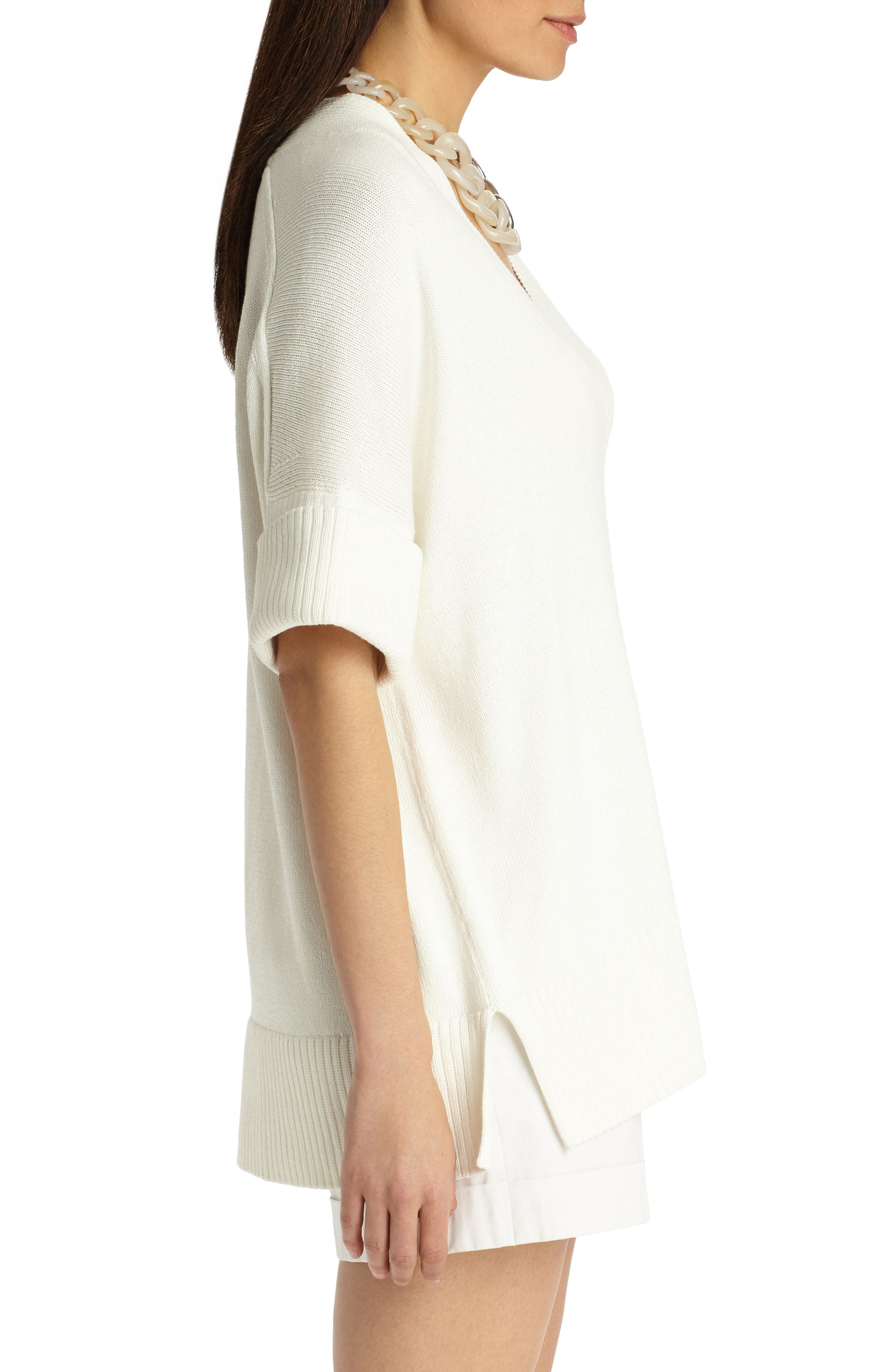 Relaxed V-Neck Cotton & Silk Sweater,                             Alternate thumbnail 3, color,                             Cloud
