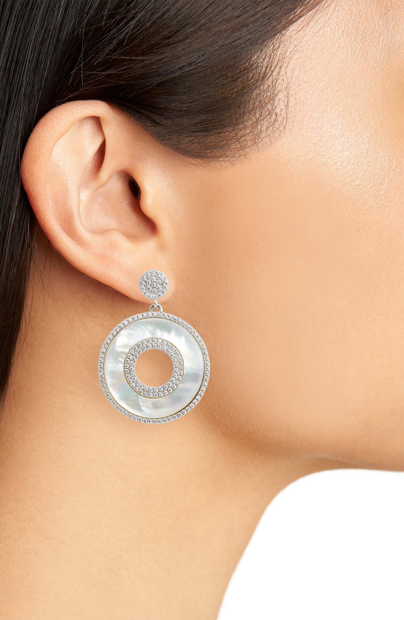 Mother of Pearl Drop Earrings,                             Alternate thumbnail 2, color,                             Mother Of Pearl/ Silver