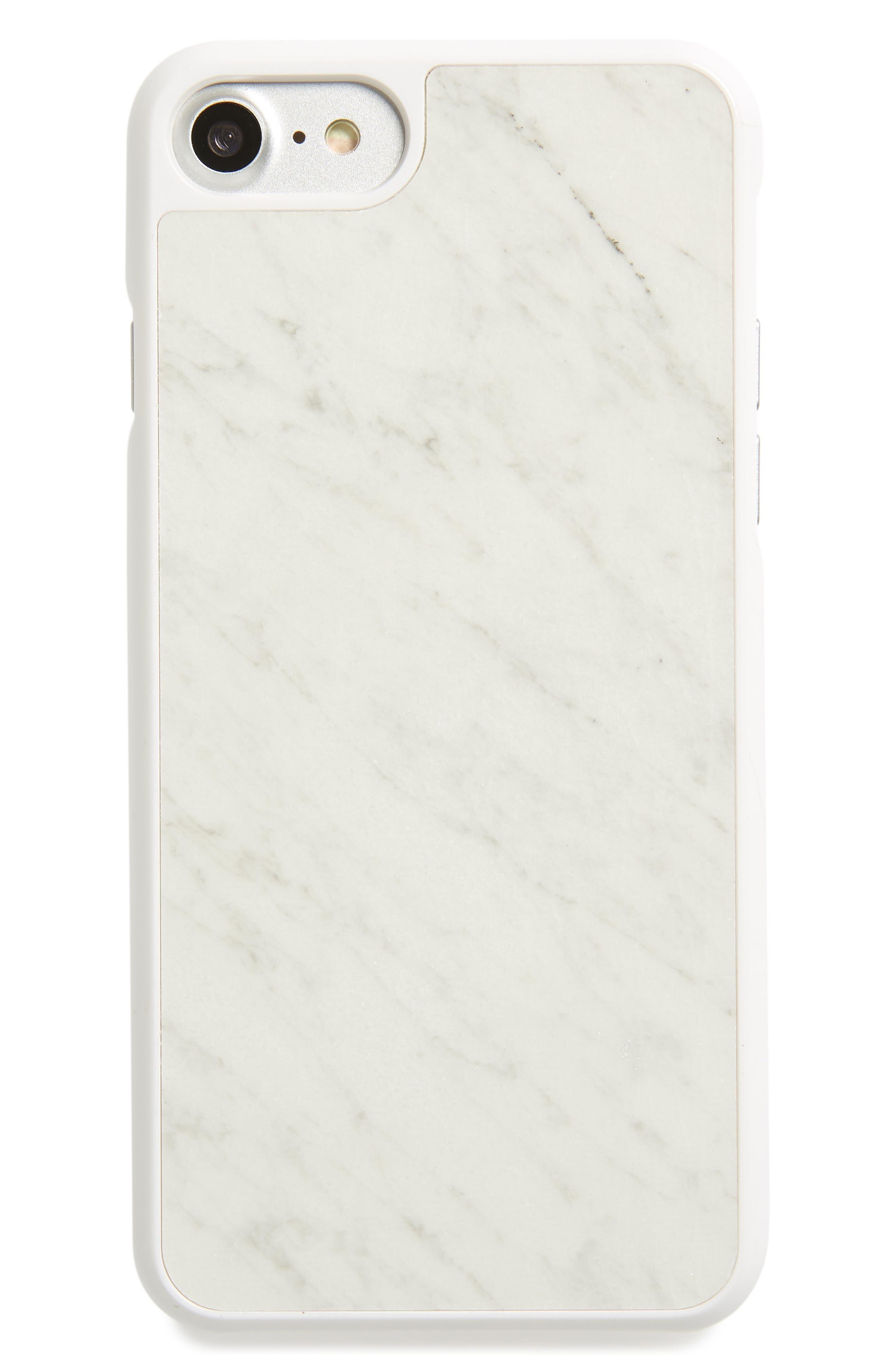 Genuine White Marble iPhone 6/6s/7/8 & 6/6s/7/8 Plus Case,                             Main thumbnail 1, color,                             White