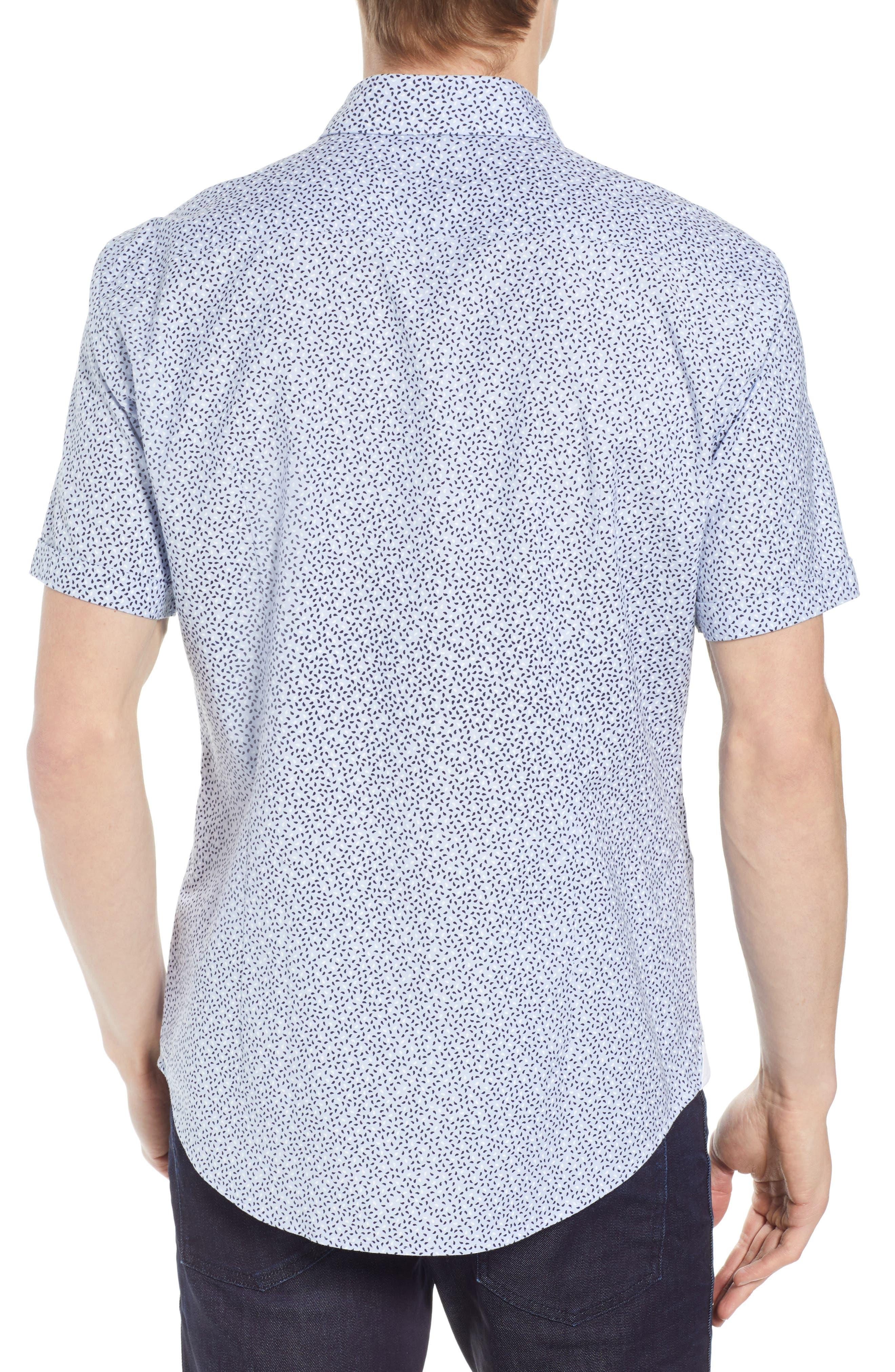 Robb Trim Fit Paisley Sport Shirt,                             Alternate thumbnail 3, color,                             Blue