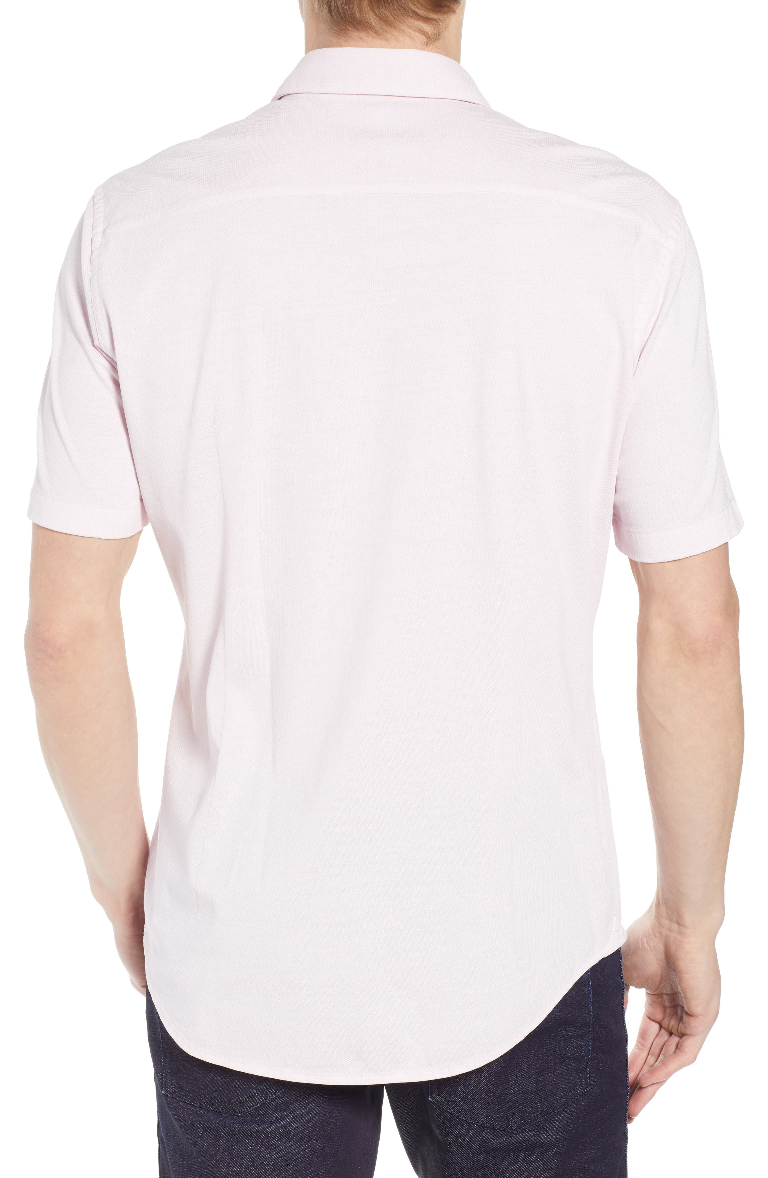 Robb Trim Fit Jersey Sport Shirt,                             Alternate thumbnail 3, color,                             Pink