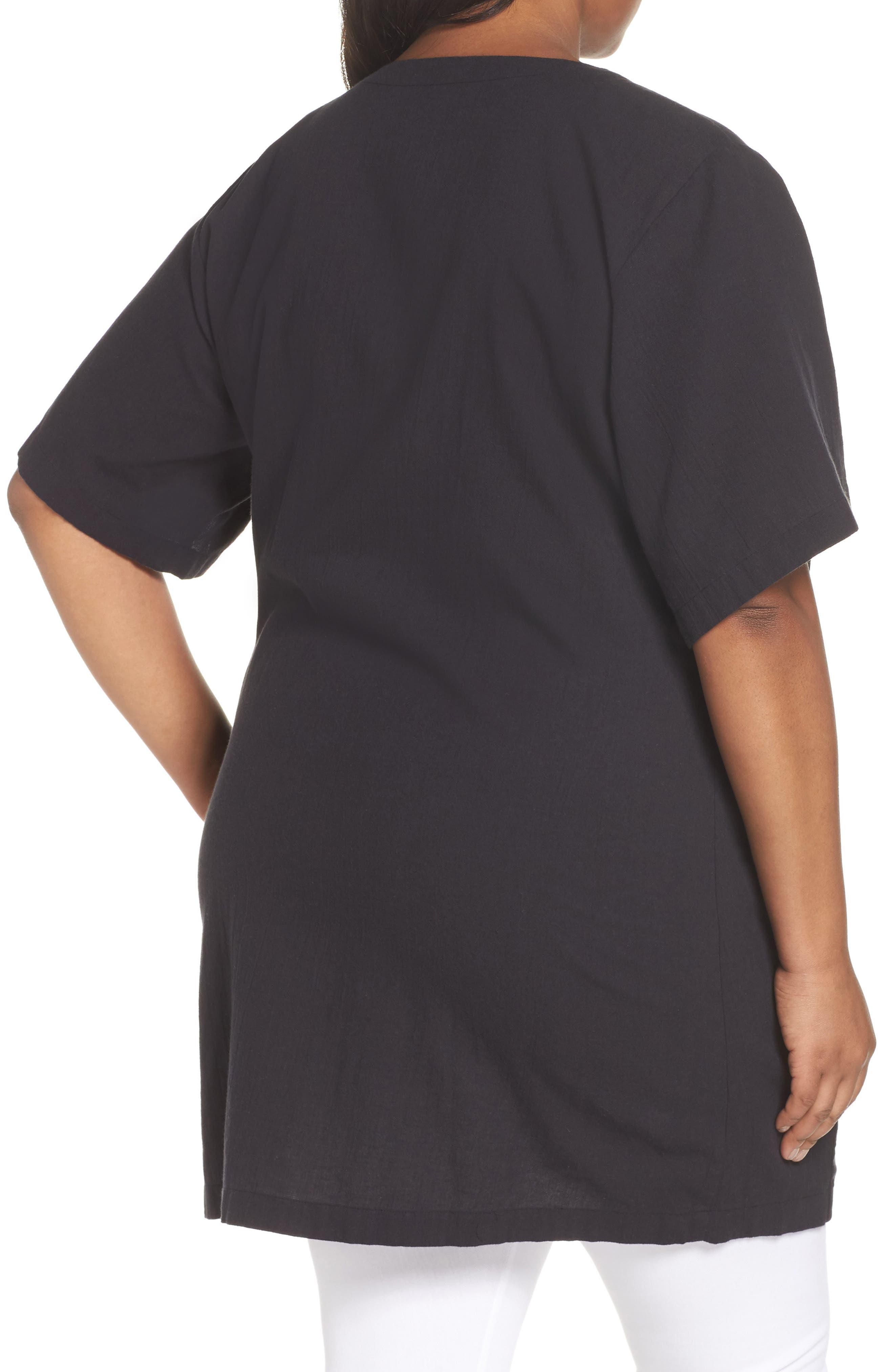 Organic Cotton Blend Kimono Jacket,                             Alternate thumbnail 2, color,                             Black