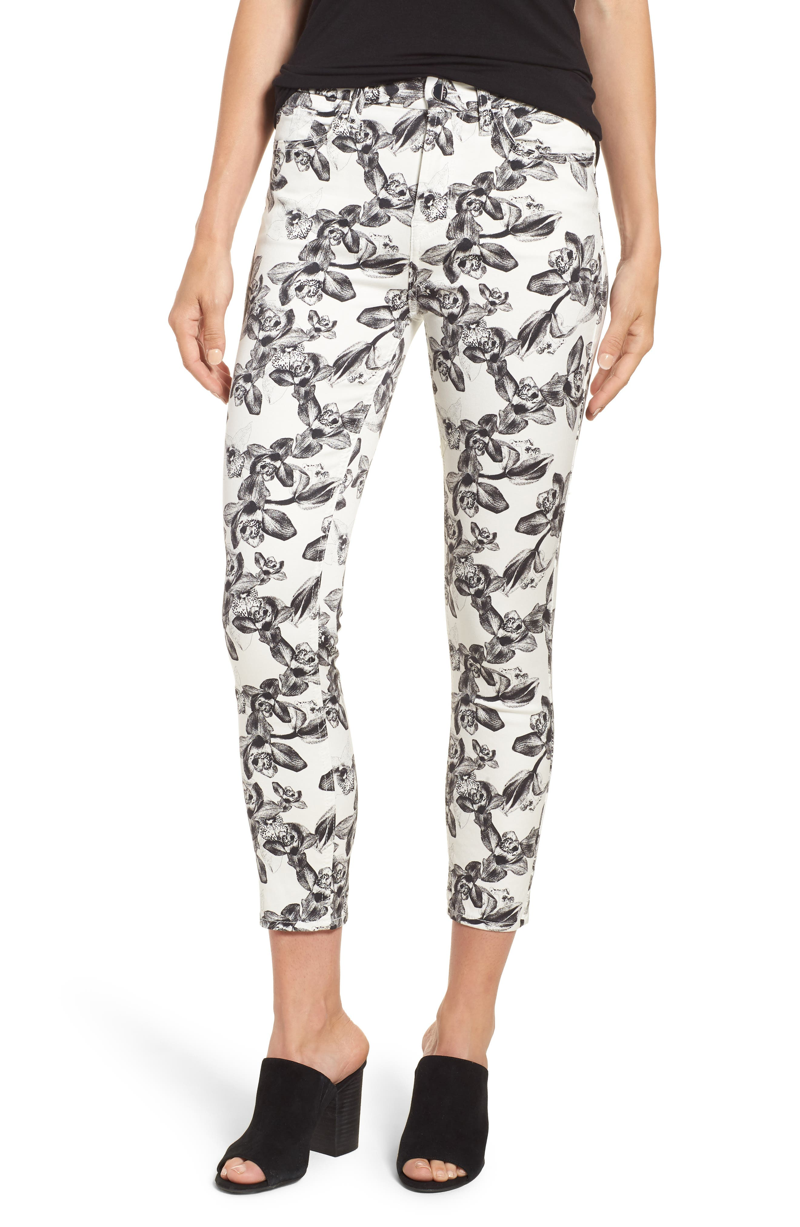 Print Crop Skinny Jeans,                         Main,                         color, White/ Black Orchid